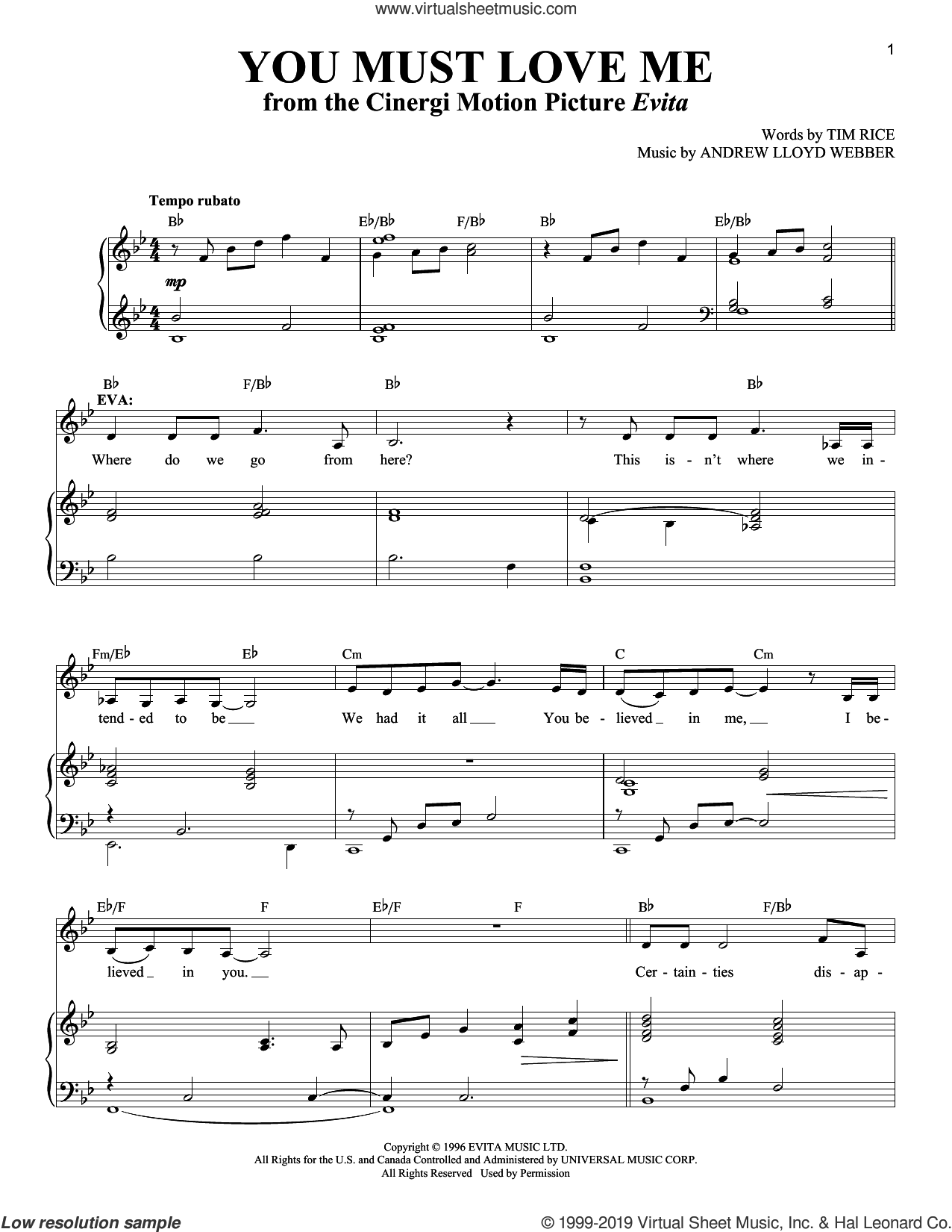You Must Love Me (from Evita) sheet music for voice and piano by Andrew Lloyd Webber and Tim Rice, intermediate skill level