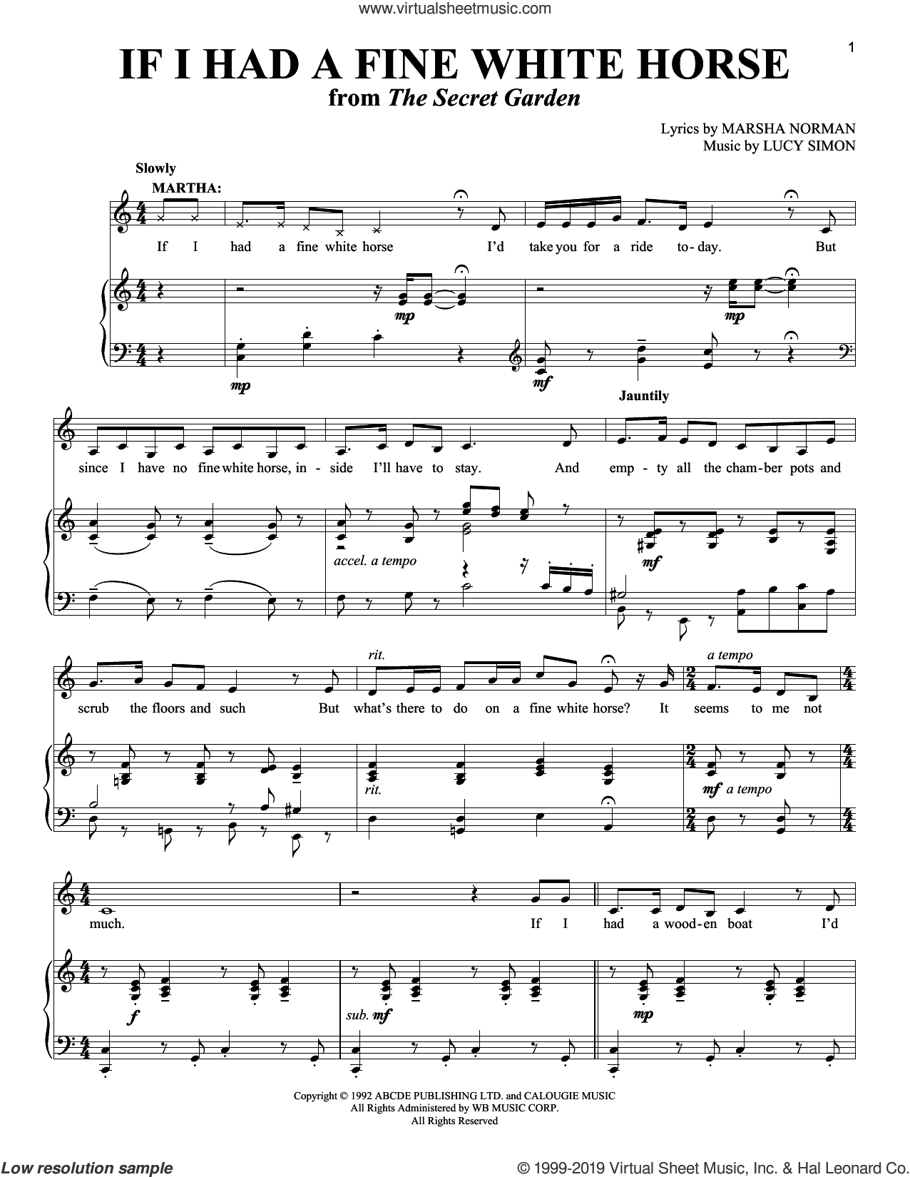 If I Had A Fine White Horse sheet music for voice and piano by Marsha Norman and Lucy Simon, intermediate skill level