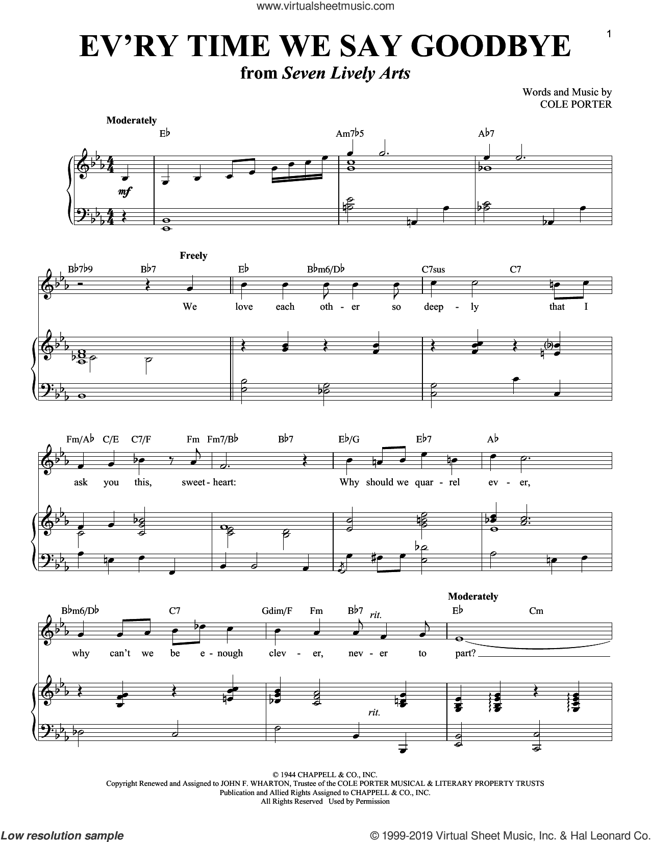 Ev'ry Time We Say Goodbye sheet music for voice and piano (Tenor) , Stan Kenton, Richard Walters and Cole Porter, intermediate skill level