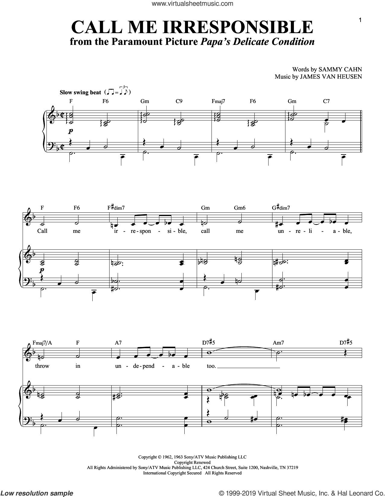 Call Me Irresponsible sheet music for voice and piano , Dinah Washington, Frank Sinatra, Jack Jones, Richard Walters, Jimmy van Heusen and Sammy Cahn, intermediate skill level