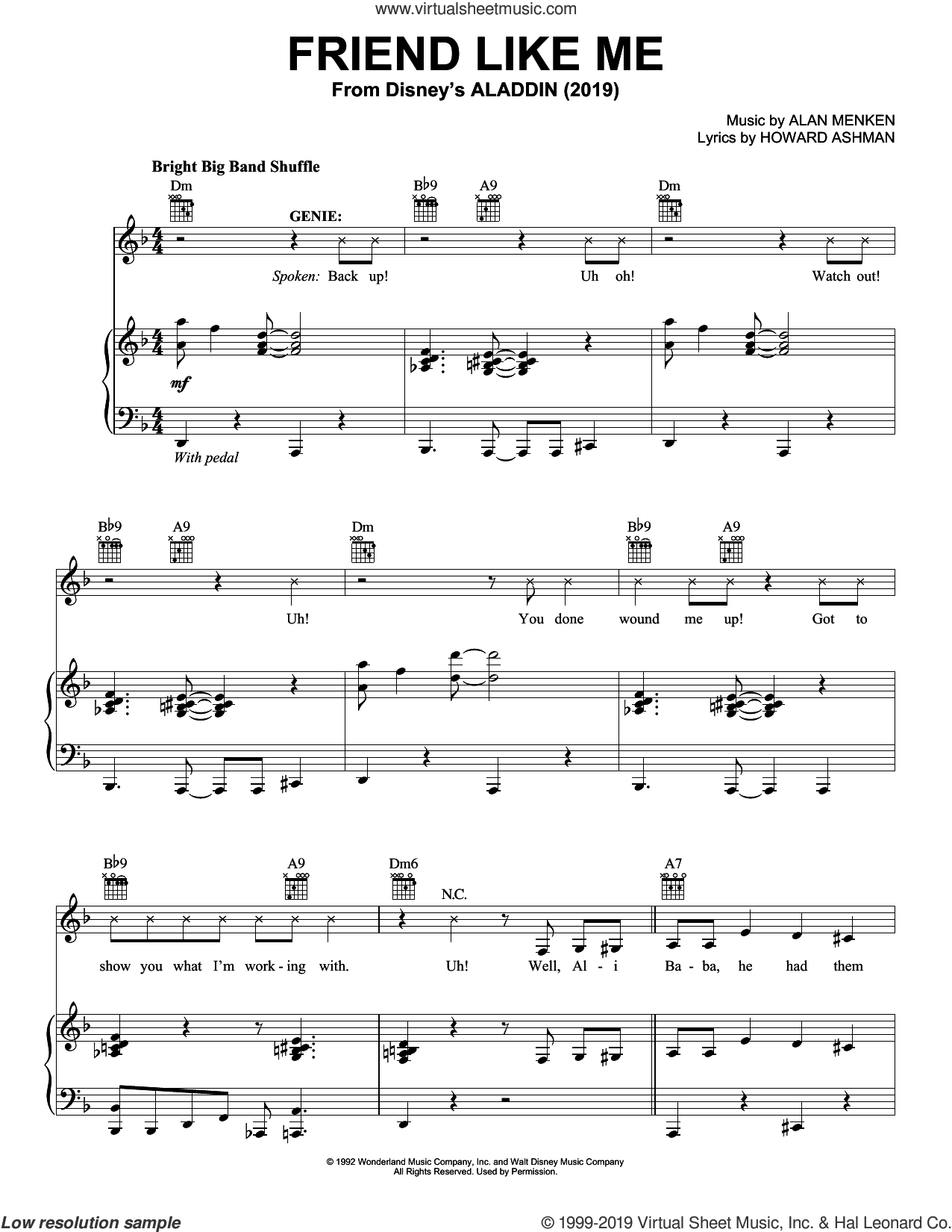 Friend Like Me (from Disney's Aladdin) sheet music for voice, piano or guitar by Will Smith, Alan Menken and Howard Ashman, intermediate skill level