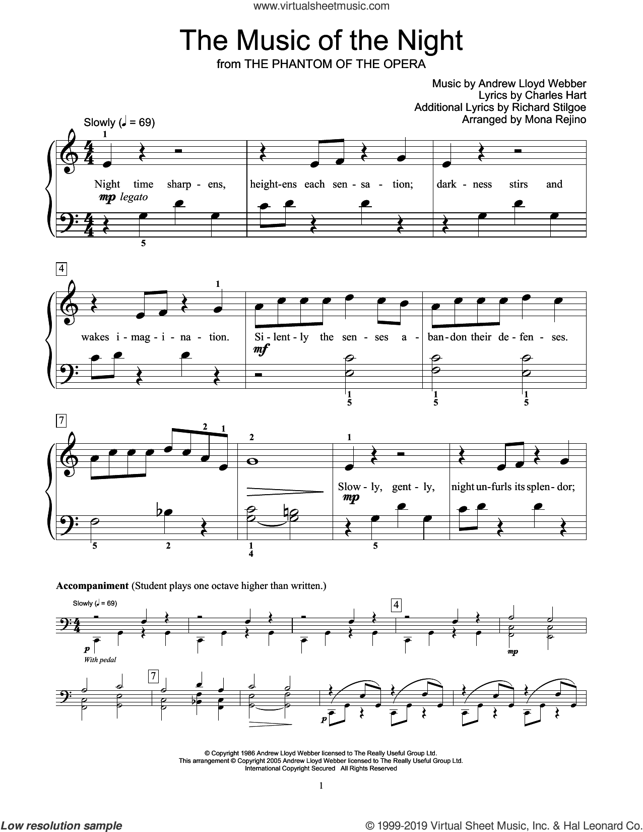 The Music Of The Night (from The Phantom Of The Opera) (arr. Mona Rejino) sheet music for piano solo (elementary) by Andrew Lloyd Webber, Mona Rejino, Charles Hart and Richard Stilgoe, beginner piano (elementary)