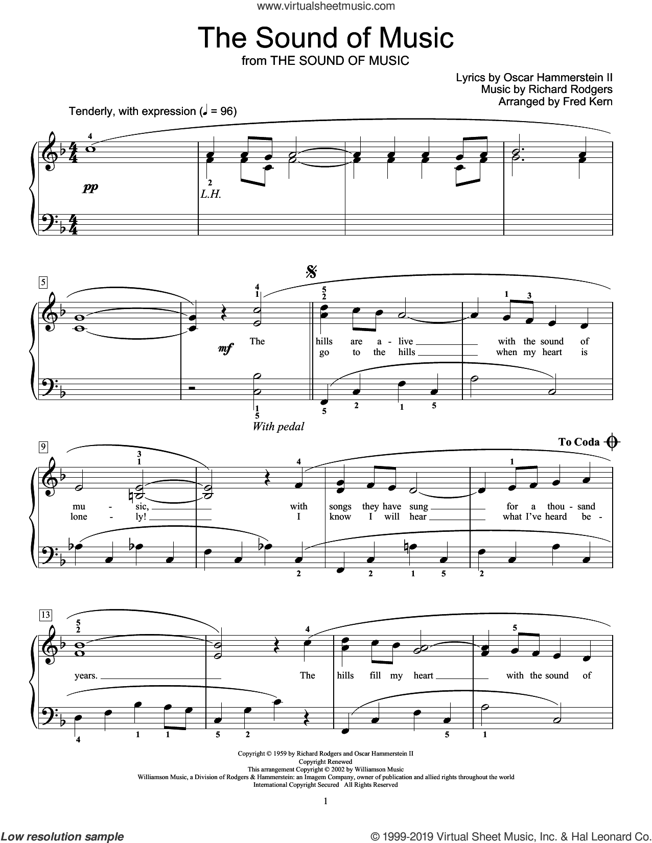 The Sound Of Music (arr. Fred Kern) sheet music for piano solo (elementary) by Richard Rodgers, Fred Kern, Oscar II Hammerstein and Rodgers & Hammerstein, beginner piano (elementary)