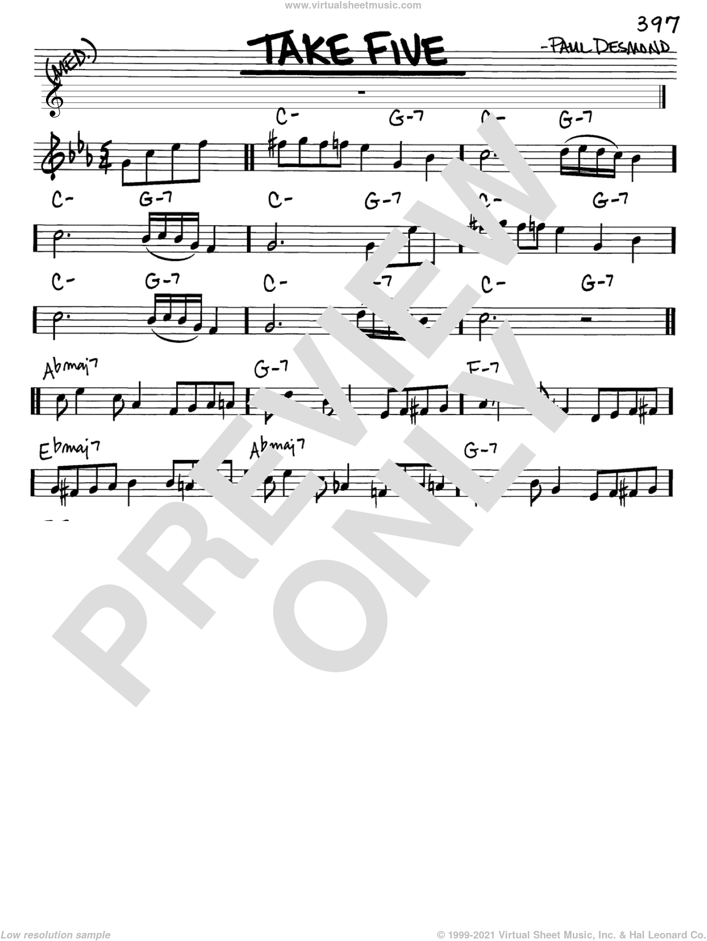 Take Five sheet music for voice and other instruments (in Eb) by Dave Brubeck and Paul Desmond, intermediate skill level