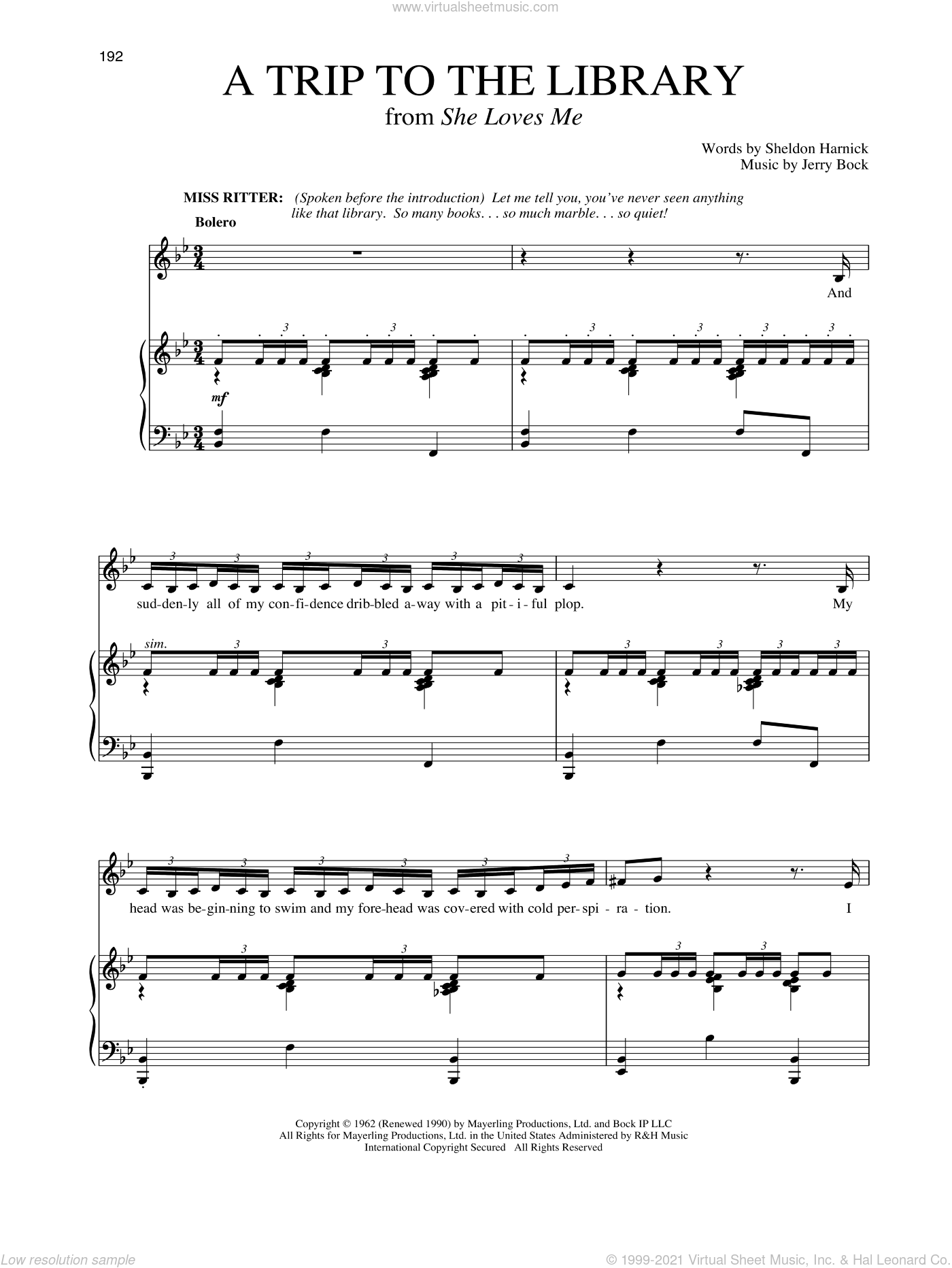 A Trip To The Library (from She Loves Me) sheet music for voice and piano by Jerry Bock, Richard Walters, Sheldon Harnick and Sheldon Harnick & Jerry Bock, intermediate skill level