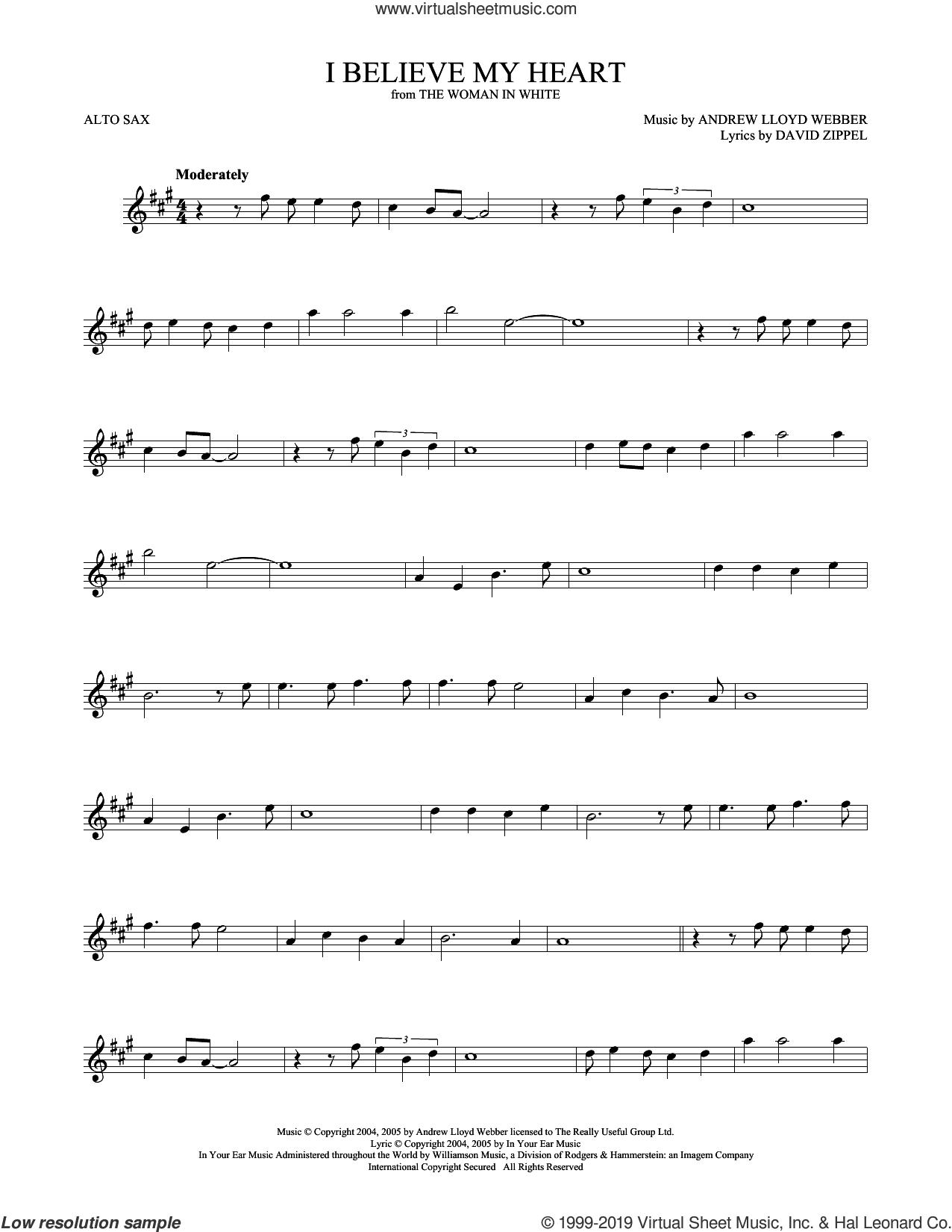I Believe My Heart (from The Woman In White) sheet music for alto saxophone solo by Andrew Lloyd Webber and David Zippel, intermediate skill level