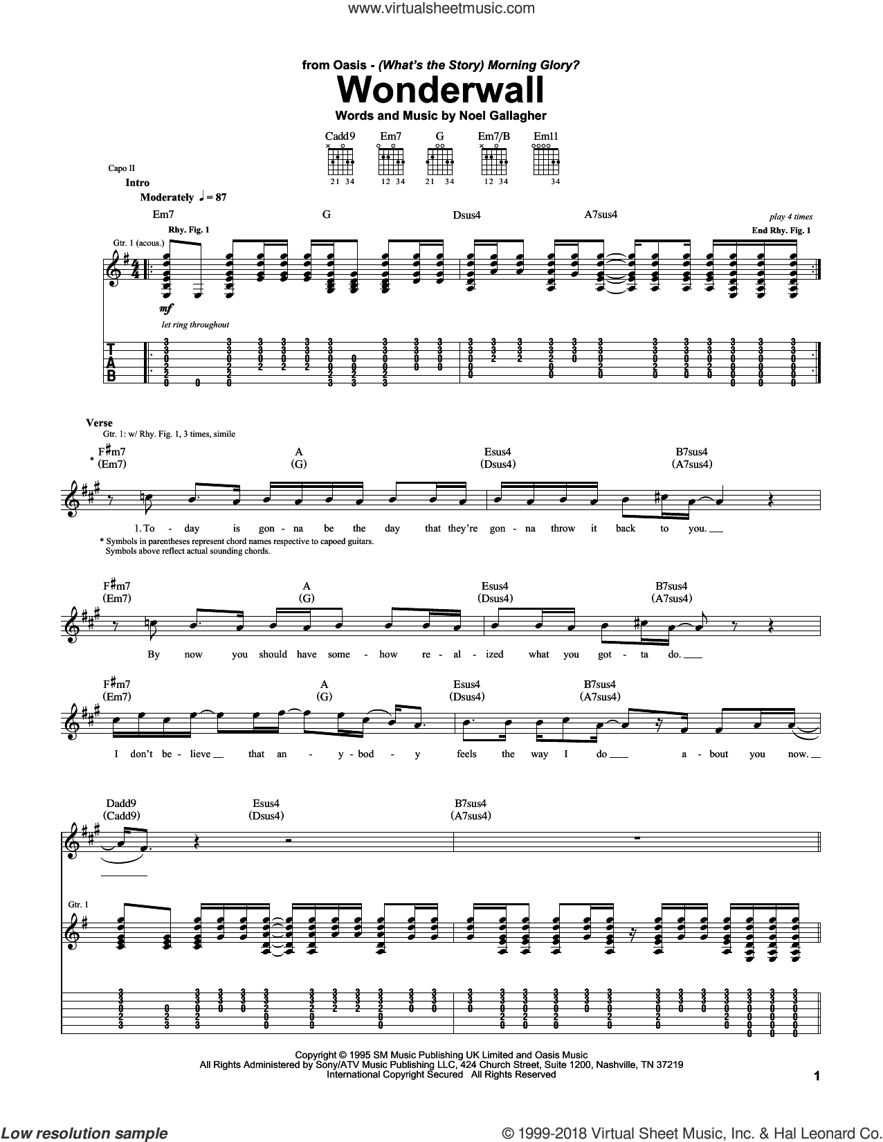 Wonderwall sheet music for guitar (tablature) by Oasis and Noel Gallagher, intermediate guitar (tablature). Score Image Preview.