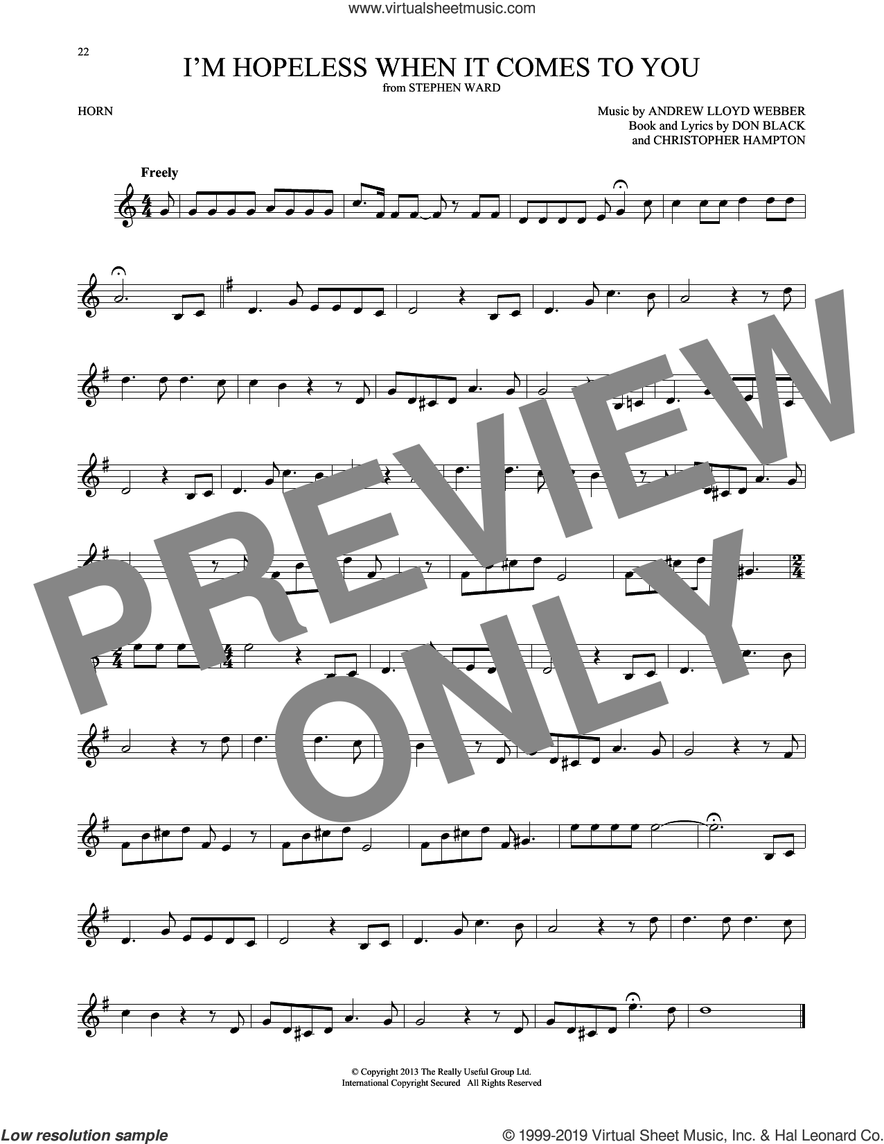 I'm Hopeless When It Comes To You (from Stephen Ward) sheet music for horn solo by Andrew Lloyd Webber, Christopher Hampton and Don Black, intermediate skill level