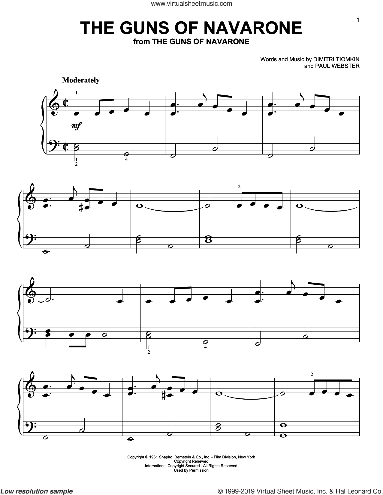 The Guns Of Navarone (from The Guns of Navarone) sheet music for piano solo by Paul Francis Webster and Dimitri Tiomkin, beginner skill level