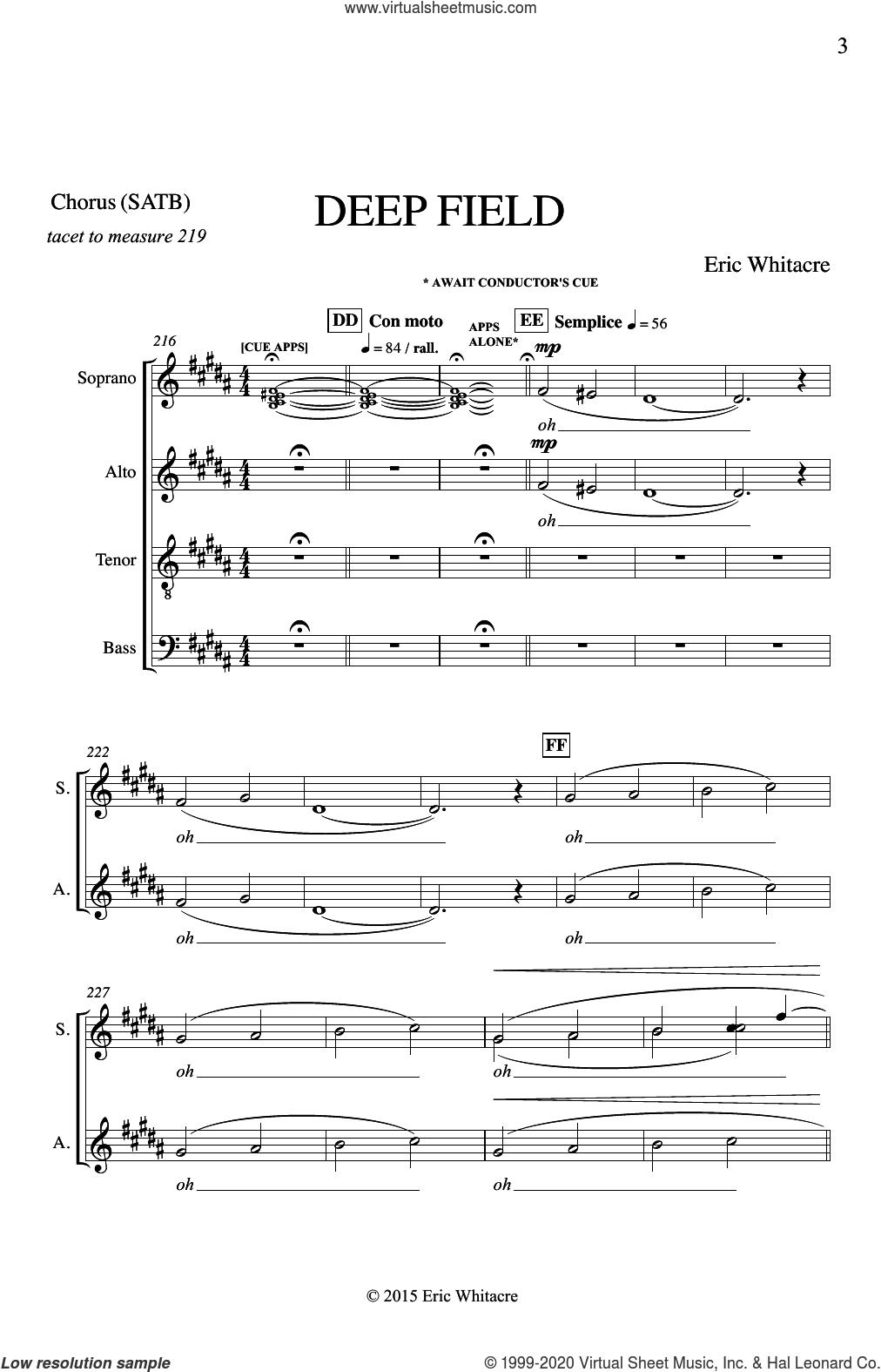Deep Field sheet music for choir (SATB: soprano, alto, tenor, bass) by Eric Whitacre, intermediate skill level