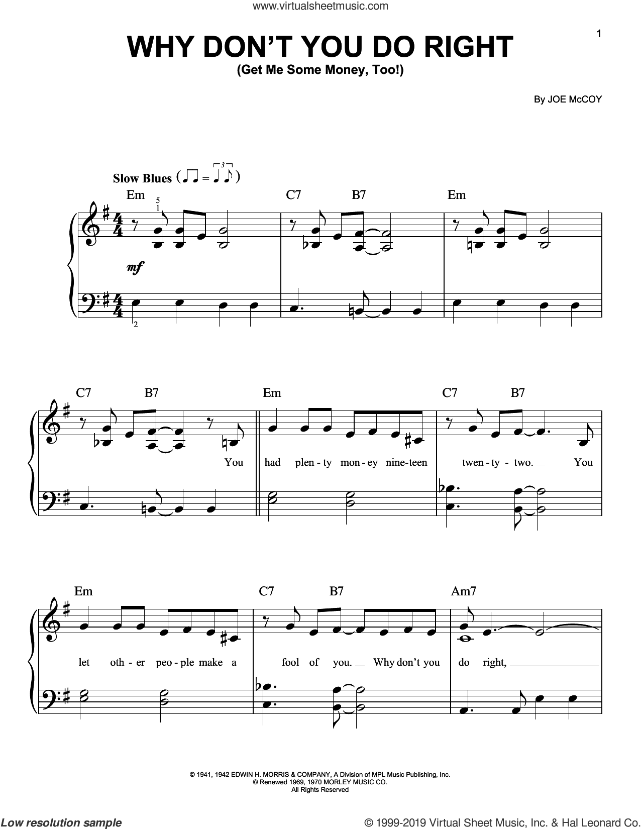 Why Don't You Do Right (Get Me Some Money, Too!) sheet music for piano solo by Peggy Lee and Joe McCoy, easy skill level