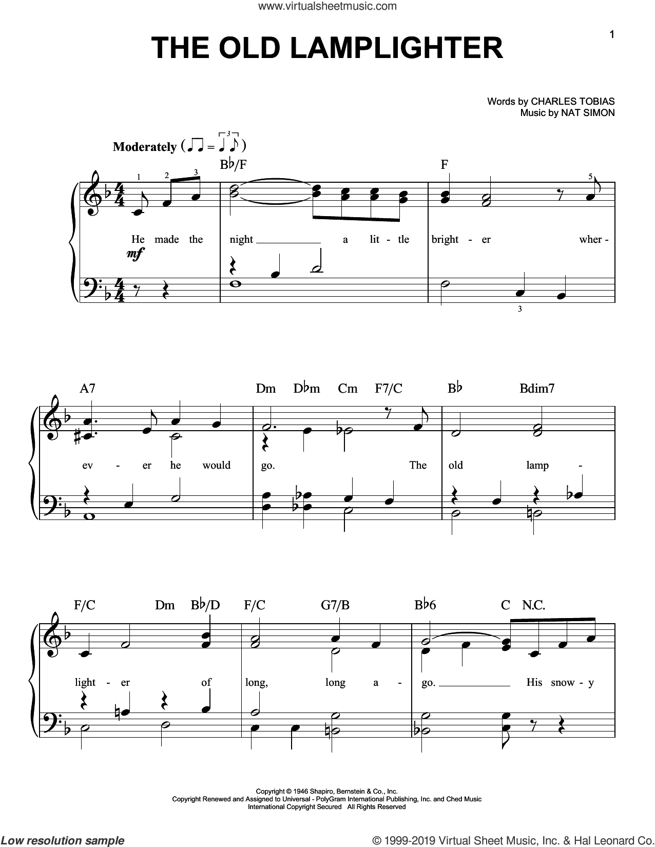 The Old Lamplighter sheet music for piano solo by The Browns, Charles Tobias and Nat Simon, easy skill level