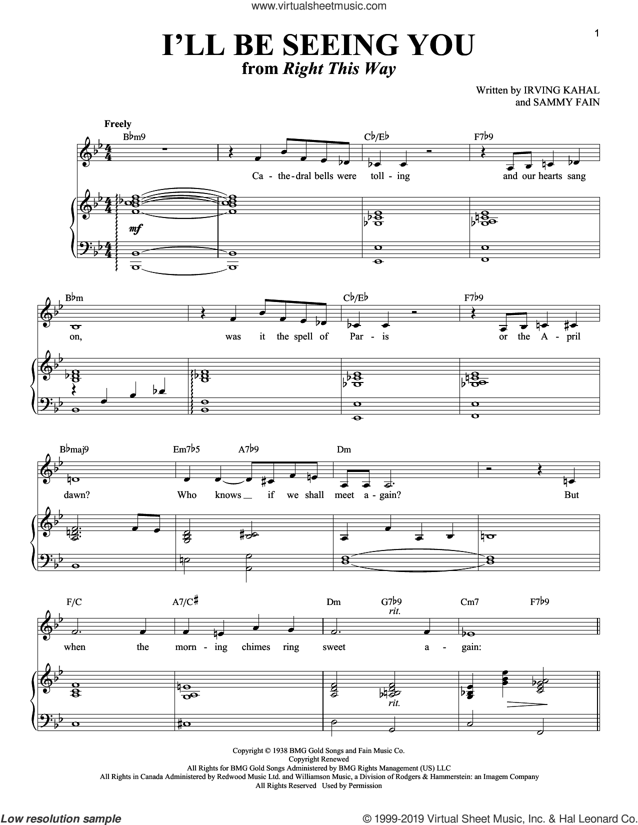 I'll Be Seeing You sheet music for voice and piano by Irving Kahal, Richard Walters and Sammy Fain, intermediate skill level