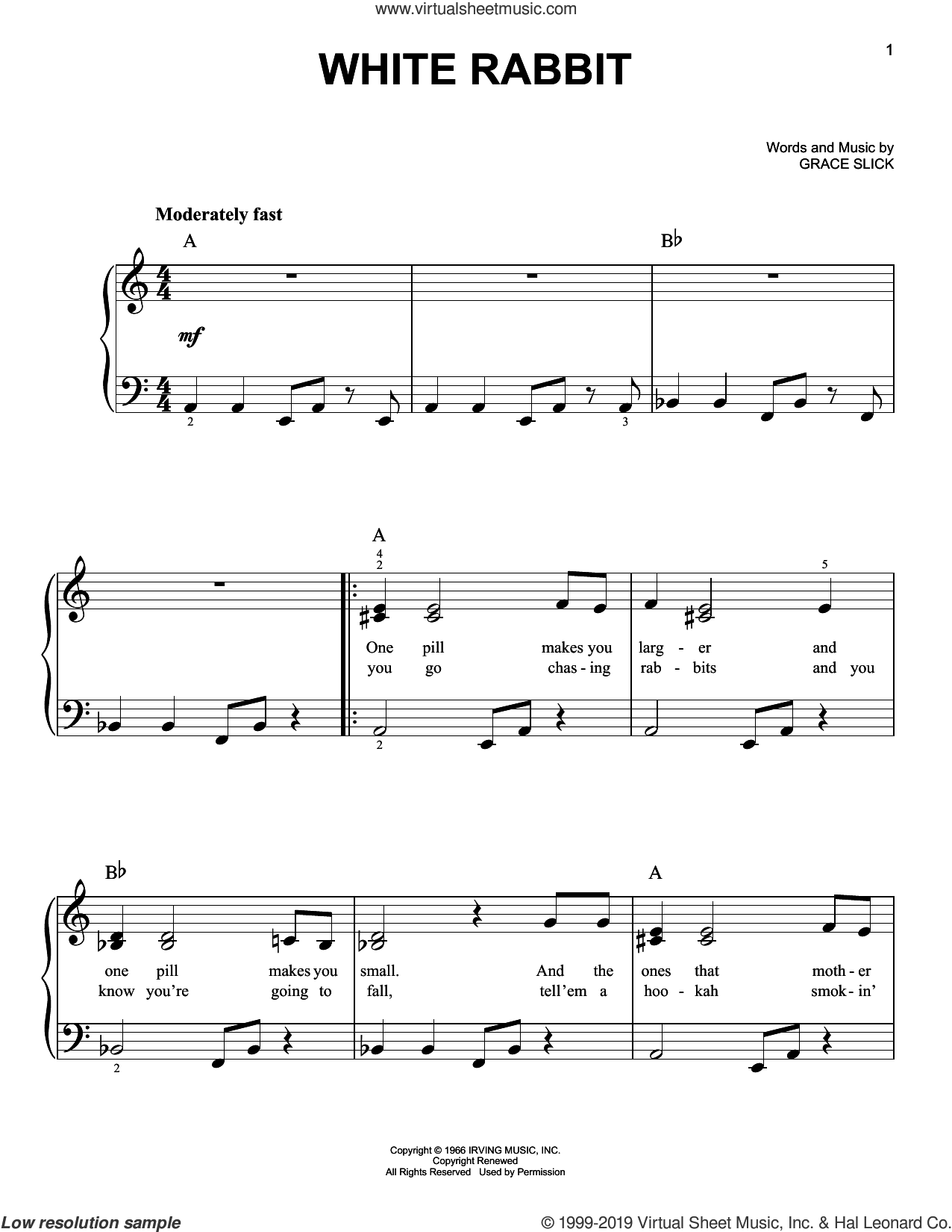 White Rabbit sheet music for piano solo by Jefferson Airplane and Grace Slick, easy skill level
