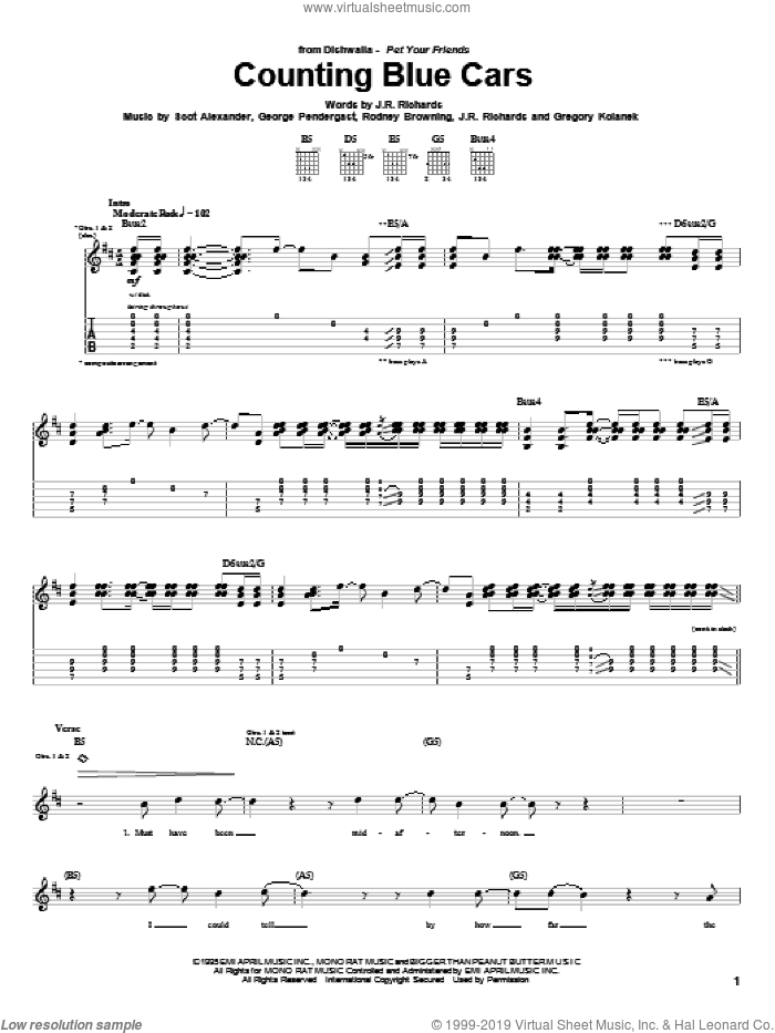 Counting Blue Cars sheet music for guitar (tablature) by Dishwalla, George Pendergast, J.R. Richards and Scot Alexander, intermediate. Score Image Preview.