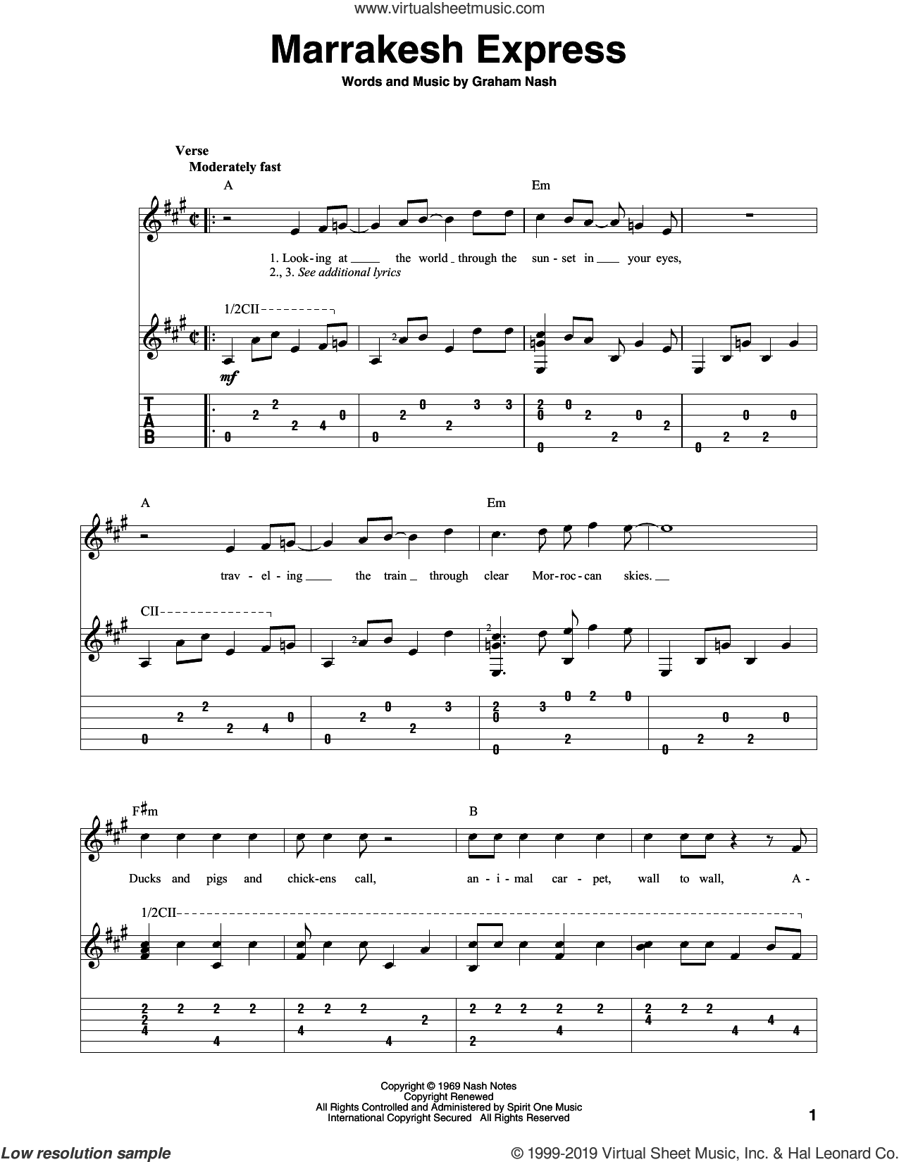 Marrakesh Express sheet music for guitar solo by Crosby, Stills & Nash and Graham Nash, intermediate skill level