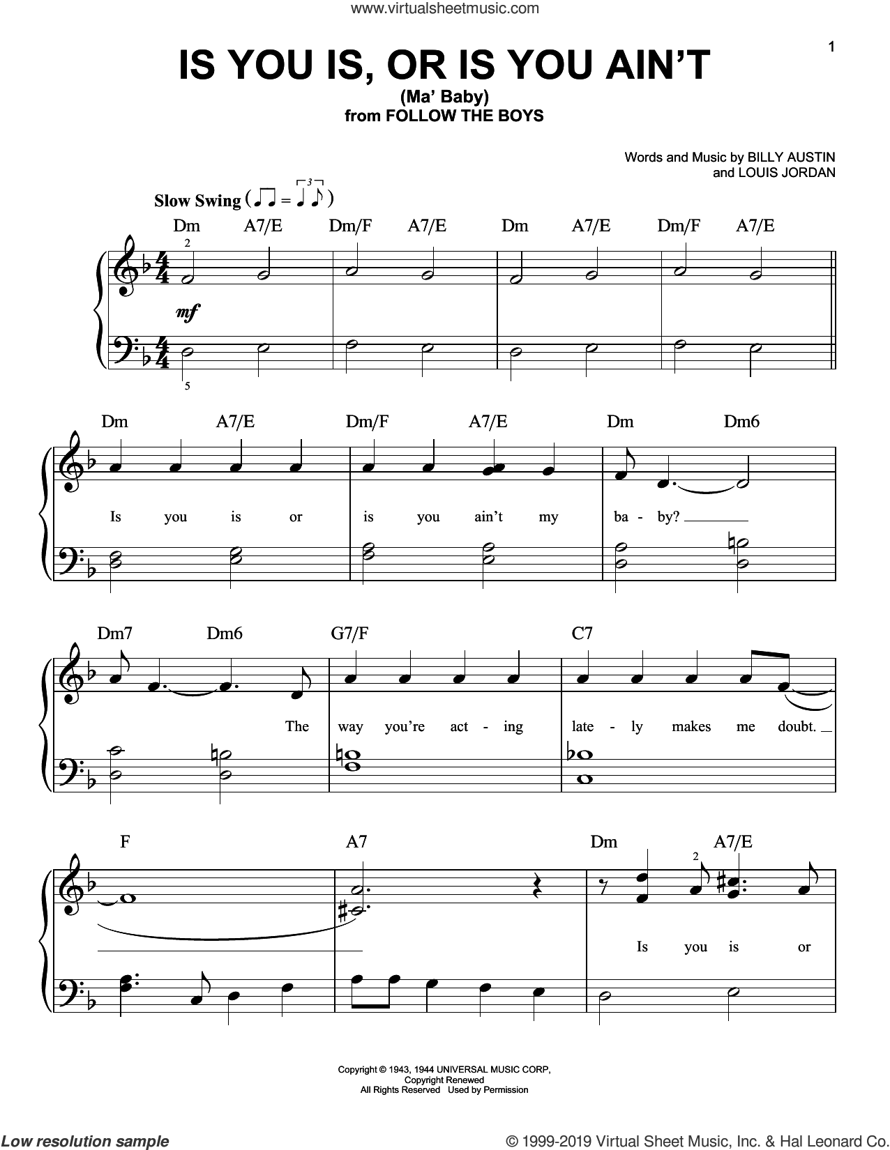 Is You Is, Or Is You Ain't (Ma' Baby) sheet music for piano solo by Louis Jordan and Billy Austin, easy skill level
