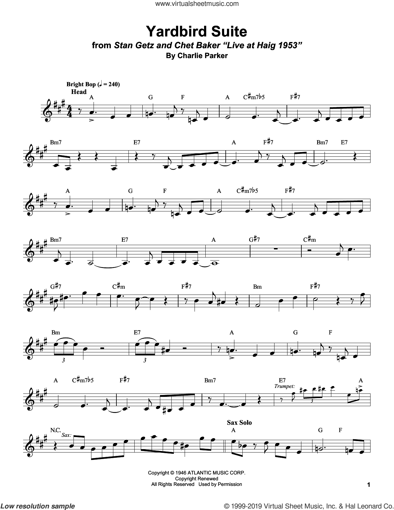 Yardbird Suite sheet music for alto saxophone (transcription) by Stan Getz and Charlie Parker, intermediate skill level