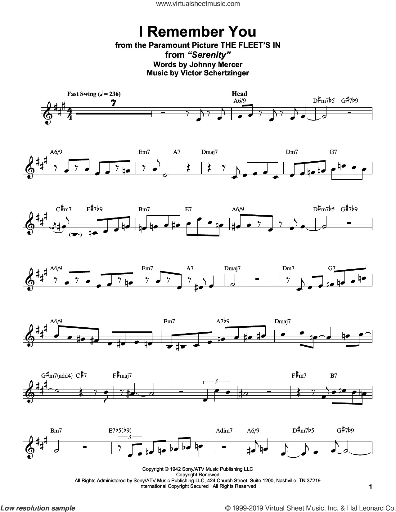 I Remember You (from The Fleet's In) sheet music for alto saxophone (transcription) by Stan Getz, Johnny Mercer and Victor Schertzinger, intermediate skill level