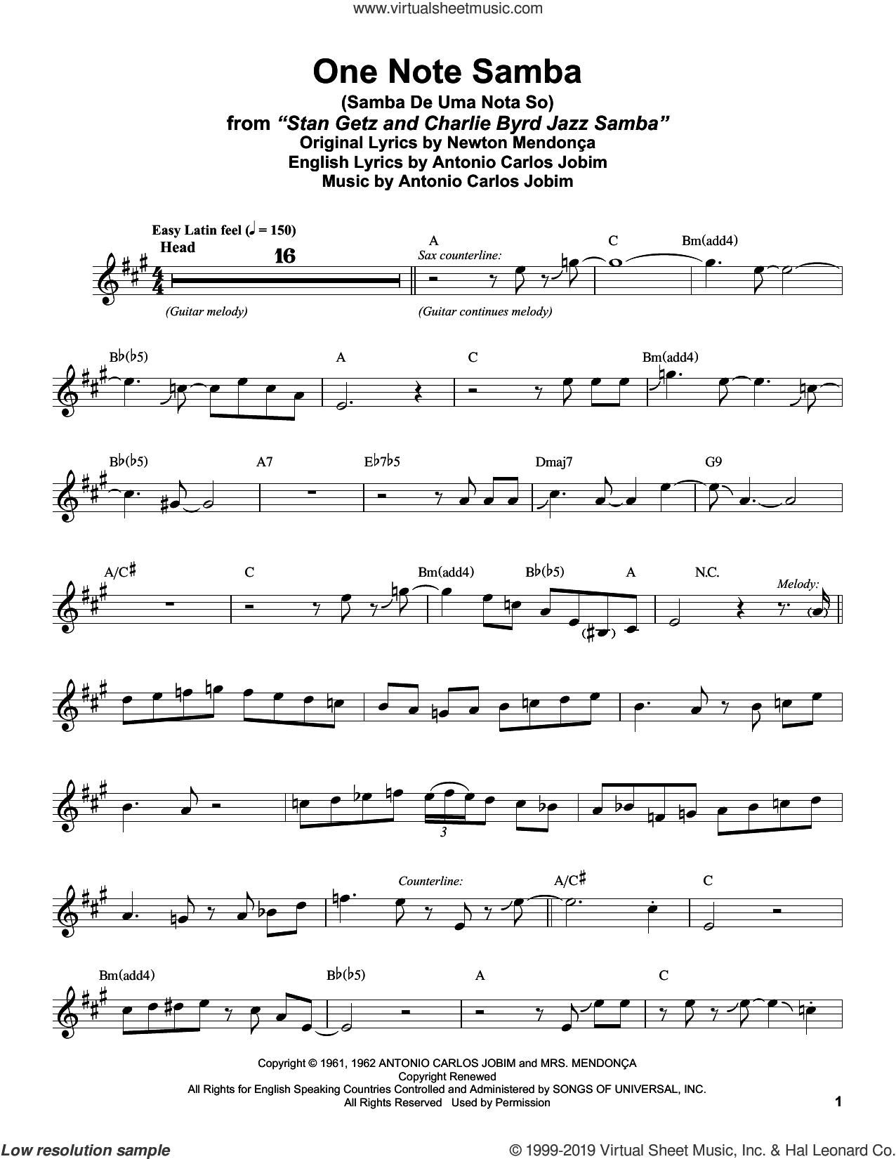 One Note Samba (Samba De Uma Nota So) sheet music for alto saxophone (transcription) by Stan Getz, Antonio Carlos Jobim and Newton Mendonca, intermediate skill level