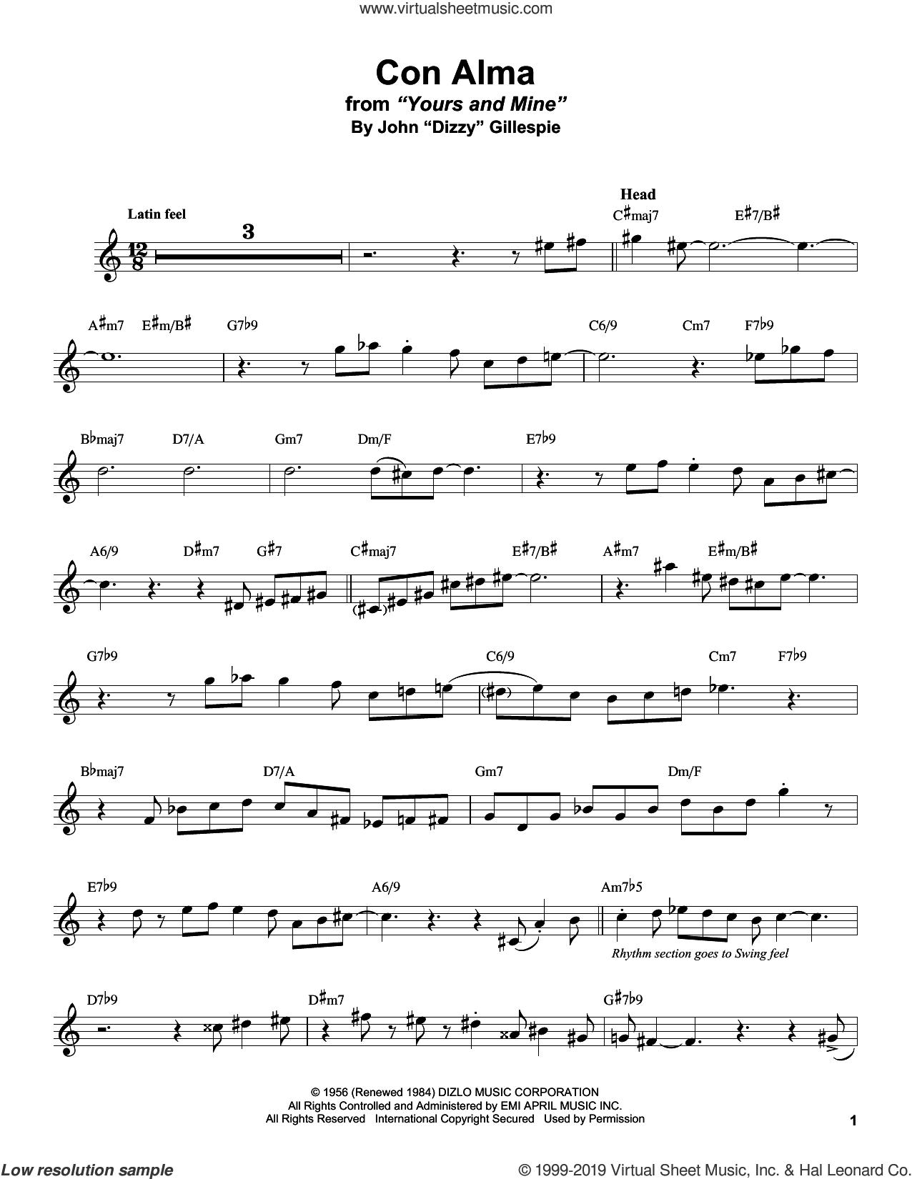 Con Alma sheet music for alto saxophone (transcription) by Stan Getz and Dizzy Gillespie, intermediate skill level