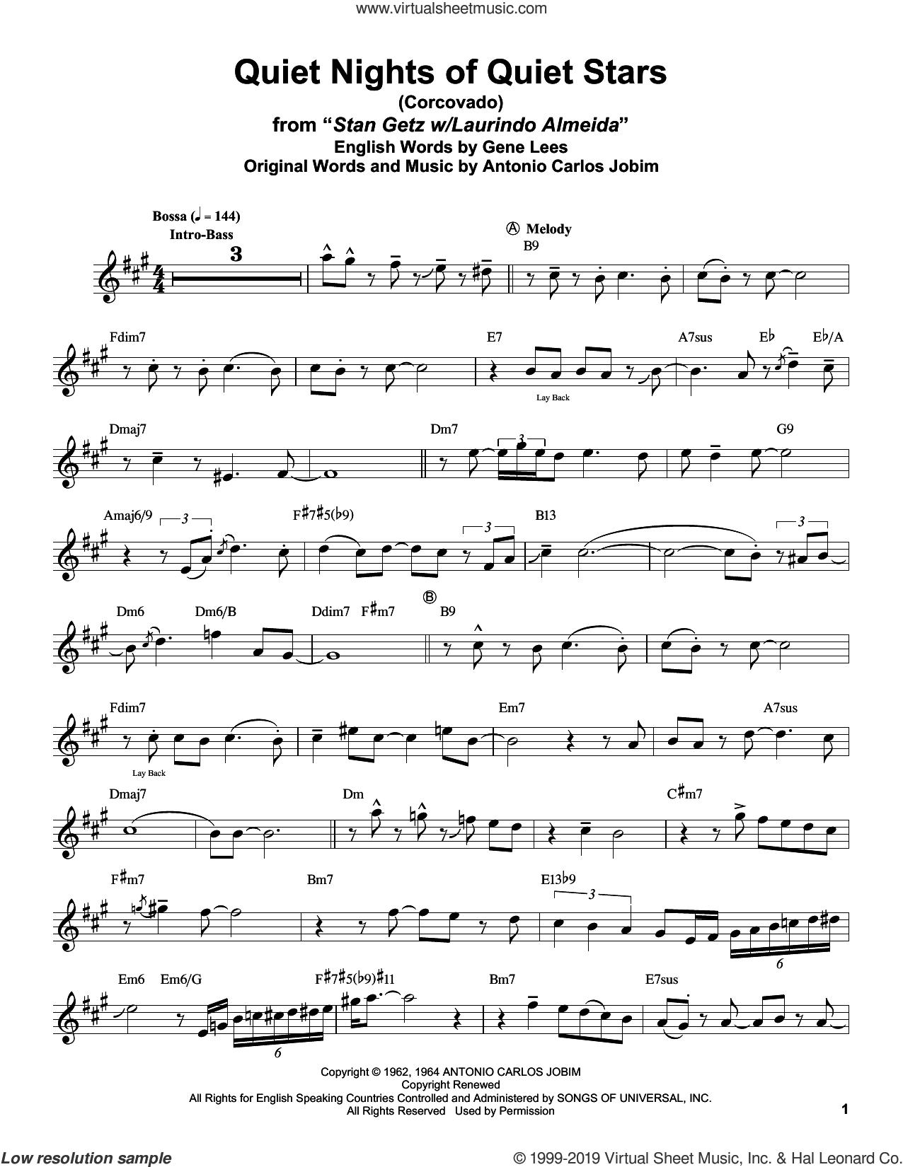 Quiet Nights Of Quiet Stars (Corcovado) sheet music for alto saxophone (transcription) by Stan Getz, Antonio Carlos Jobim and Eugene John Lees, intermediate skill level
