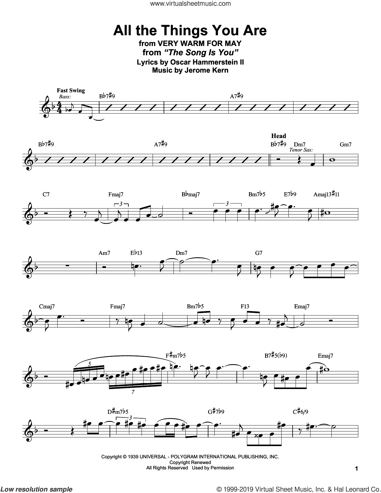 All The Things You Are (from Very Warm For May) sheet music for alto saxophone (transcription) by Stan Getz, Jerome Kern and Oscar II Hammerstein, intermediate skill level