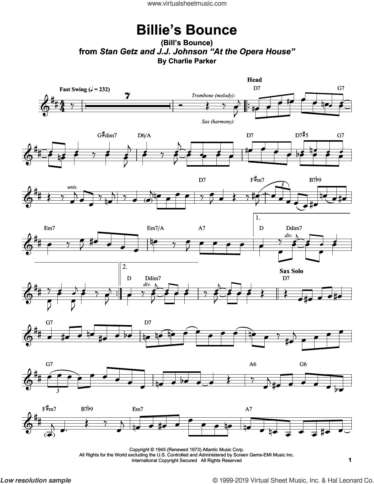 Billie's Bounce (Bill's Bounce) sheet music for alto saxophone (transcription) by Stan Getz and Charlie Parker, intermediate skill level