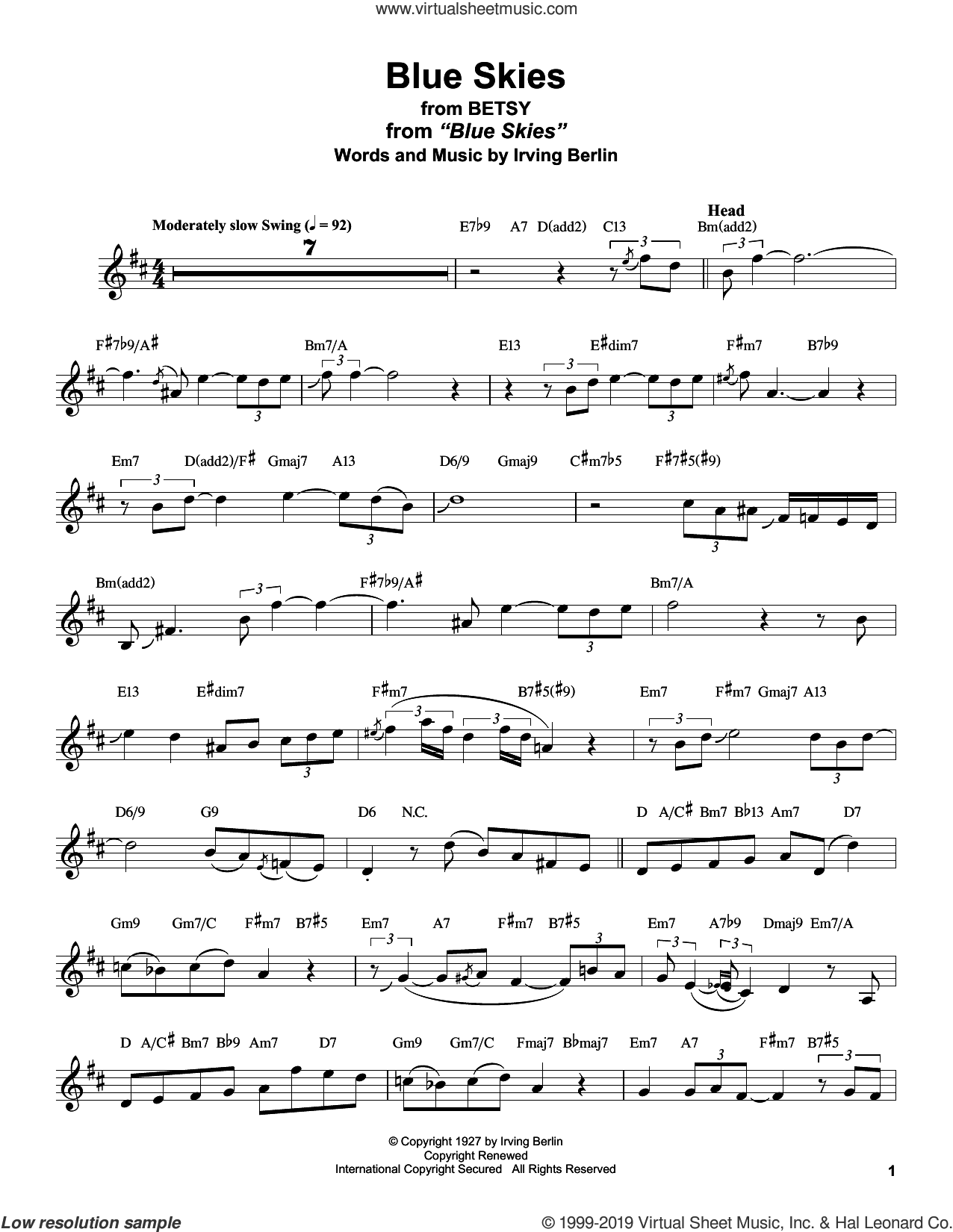 Blue Skies (from Betsy) sheet music for alto saxophone (transcription) by Stan Getz and Irving Berlin, intermediate skill level
