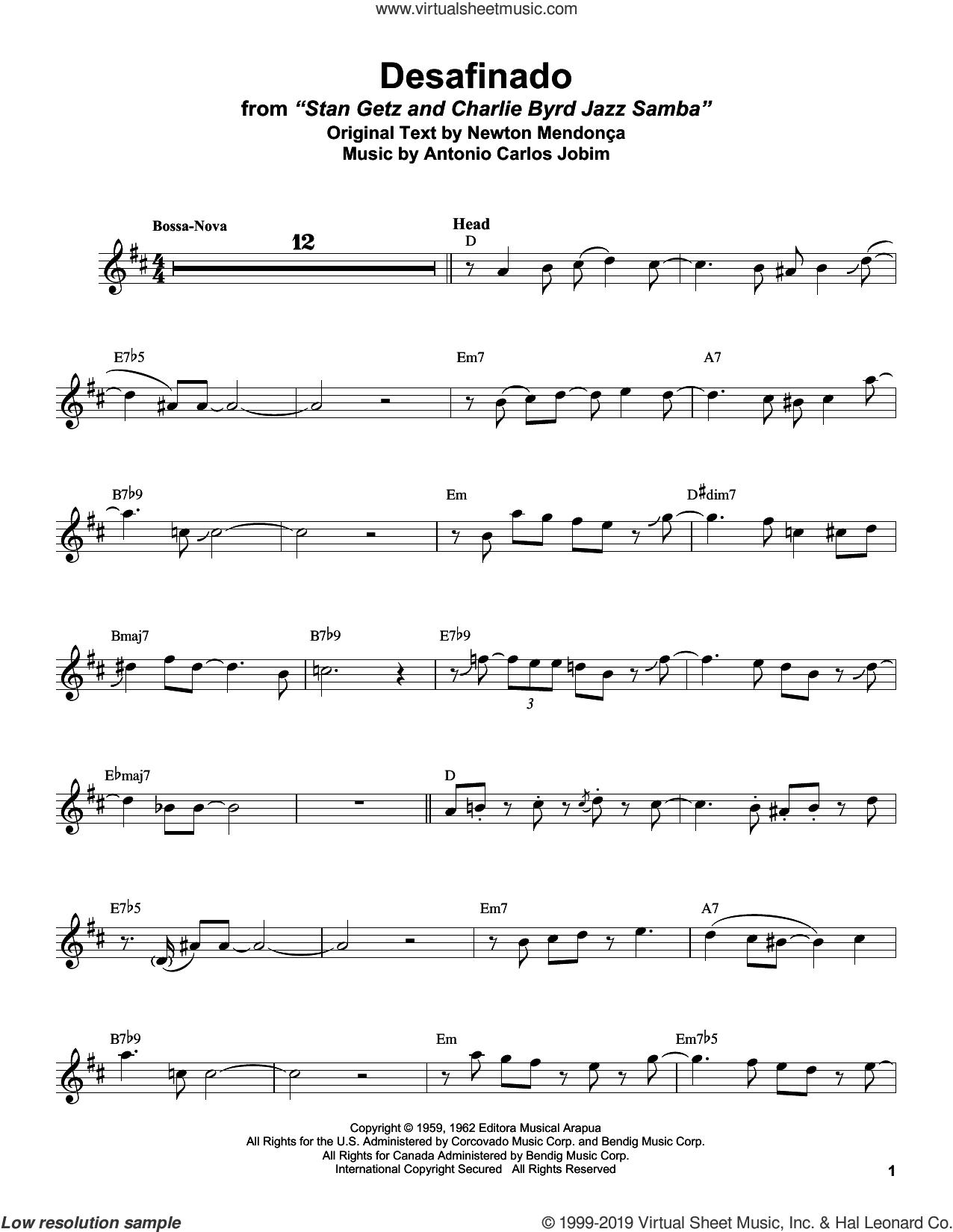 Desafinado sheet music for alto saxophone (transcription) by Stan Getz, Antonio Carlos Jobim and Newton Mendonca, intermediate skill level