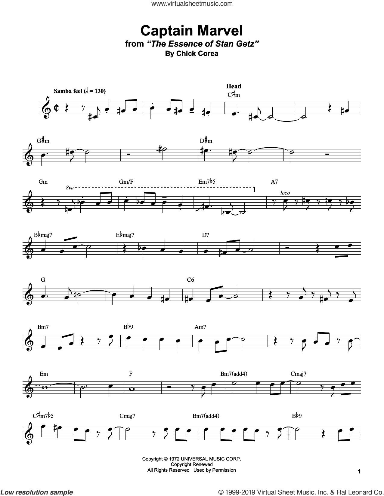Captain Marvel sheet music for alto saxophone (transcription) by Stan Getz and Chick Corea, intermediate skill level