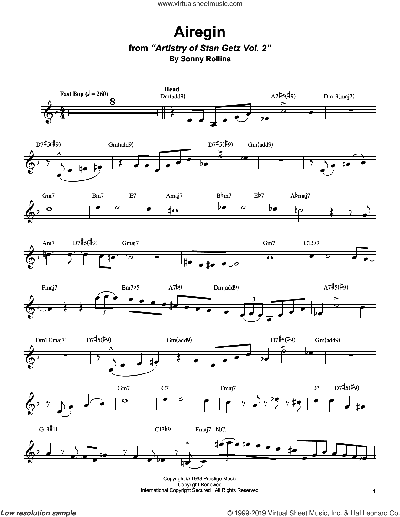 Airegin sheet music for alto saxophone (transcription) by Stan Getz and Sonny Rollins, intermediate skill level