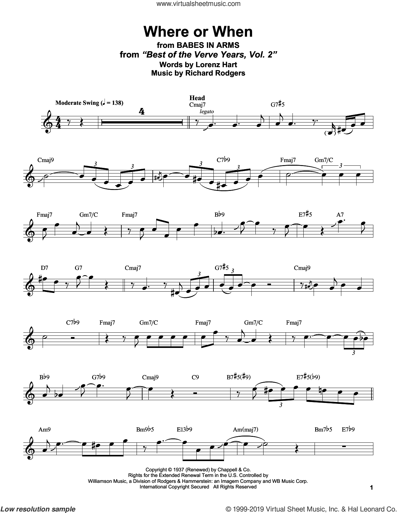 Where Or When (from Babes In Arms) sheet music for alto saxophone (transcription) by Stan Getz, Lorenz Hart and Richard Rodgers, intermediate skill level