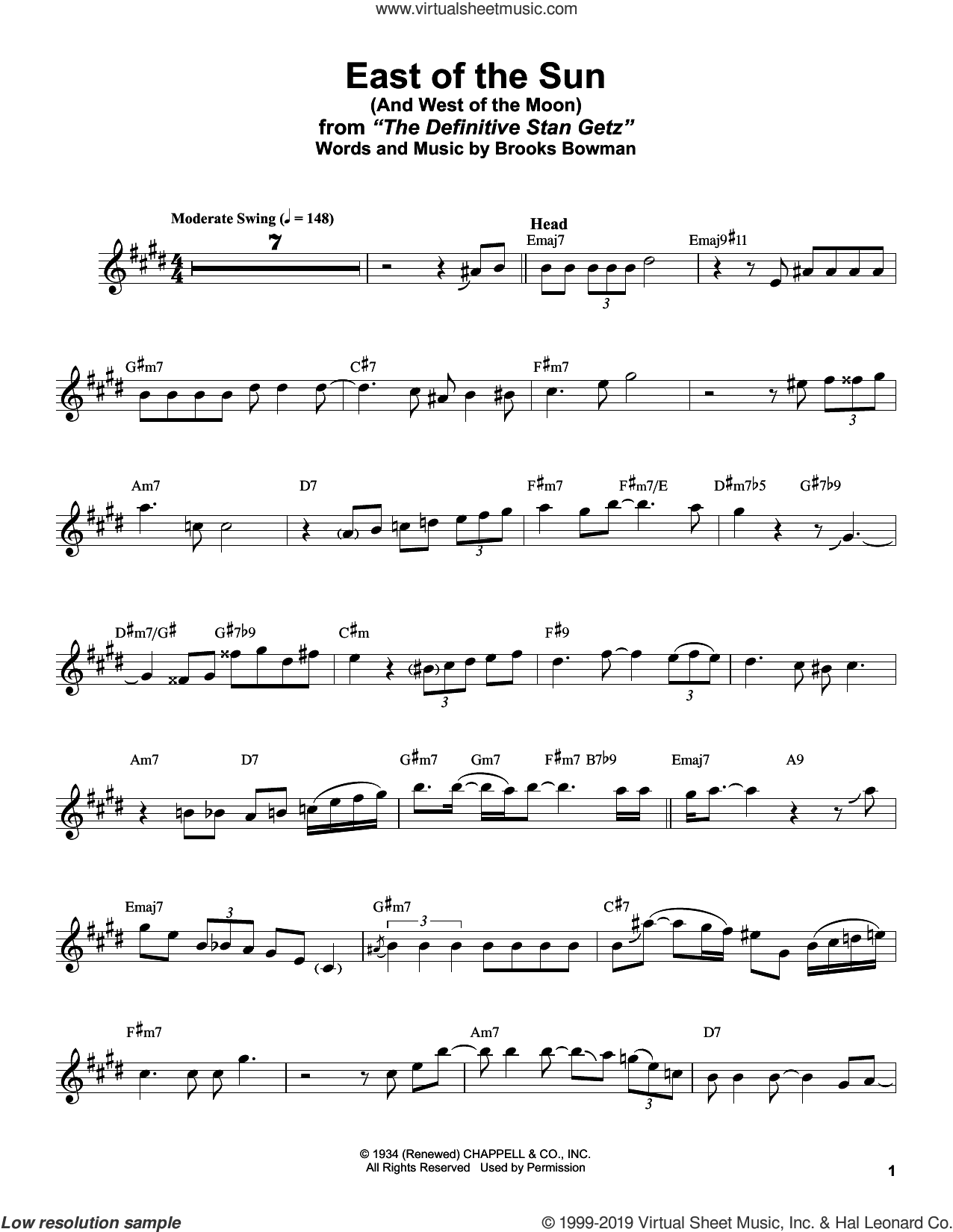 East Of The Sun (And West Of The Moon) sheet music for alto saxophone (transcription) by Stan Getz and Brooks Bowman, intermediate skill level