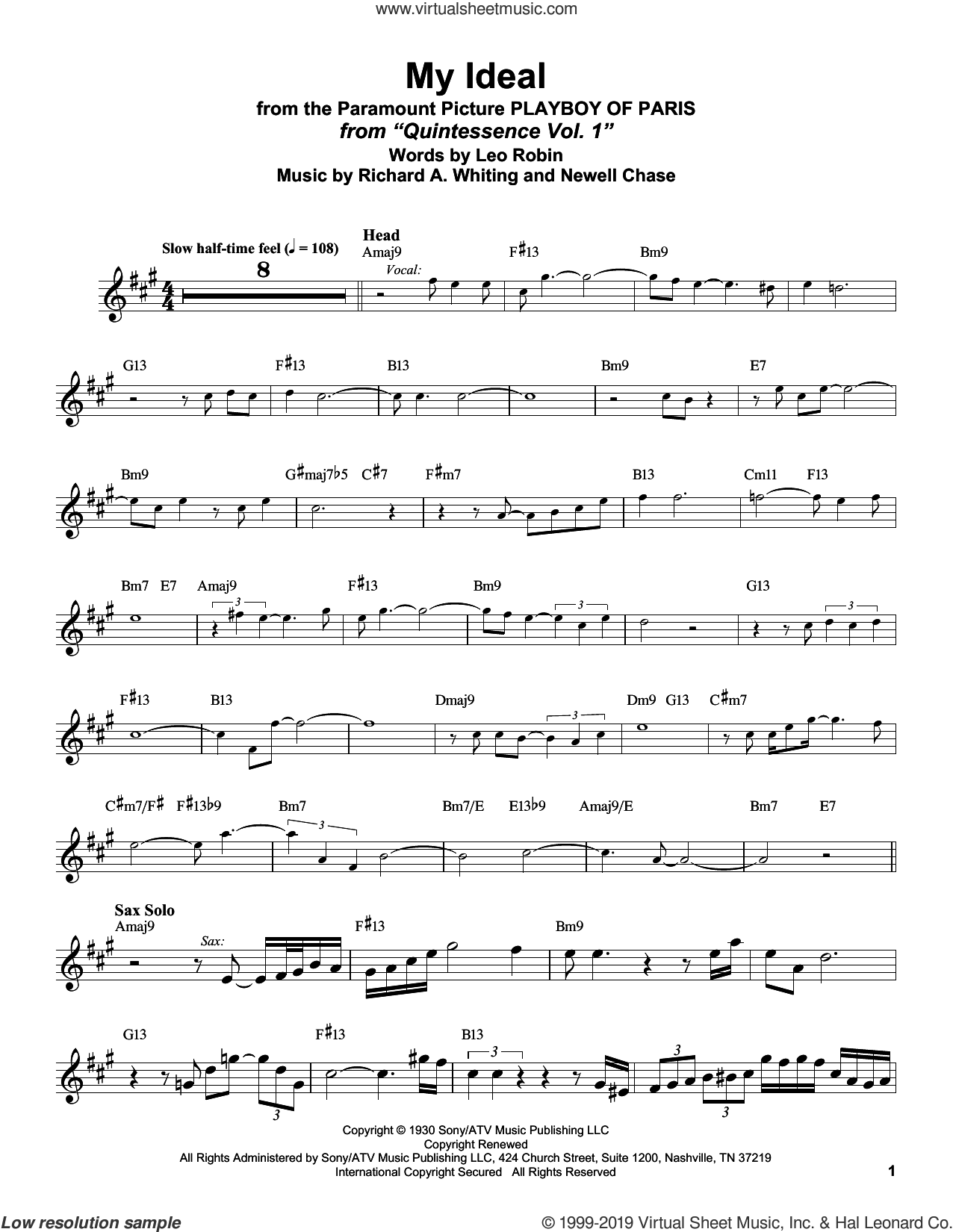My Ideal (from Playboy of Paris) sheet music for alto saxophone (transcription) by Stan Getz, Leo Robin, Newell Chase and Richard A. Whiting, intermediate skill level