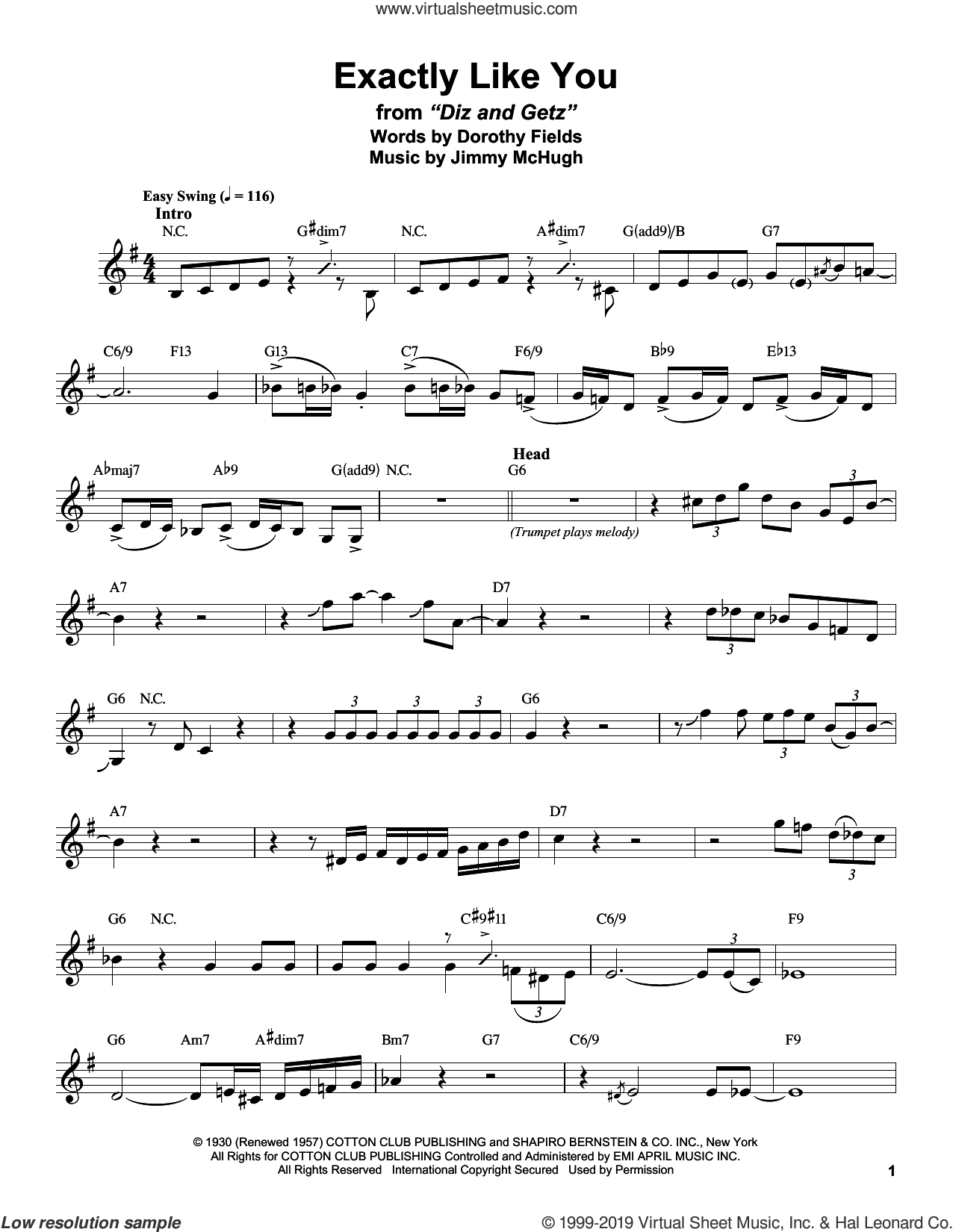 Exactly Like You sheet music for alto saxophone (transcription) by Stan Getz, Dorothy Fields and Jimmy McHugh, intermediate skill level