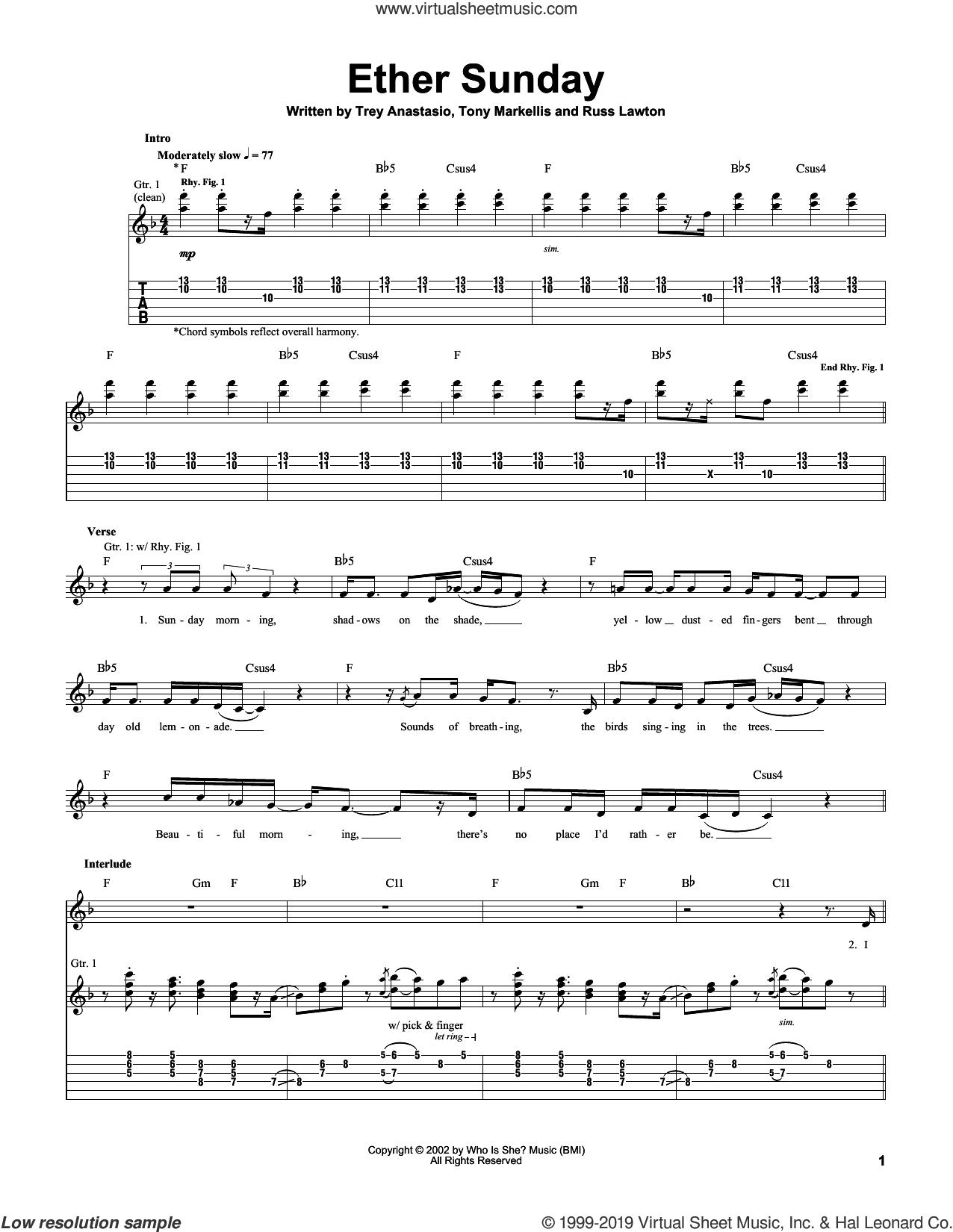Ether Sunday sheet music for guitar (tablature) by Trey Anastasio, Russ Lawton and Tony Markellis, intermediate skill level