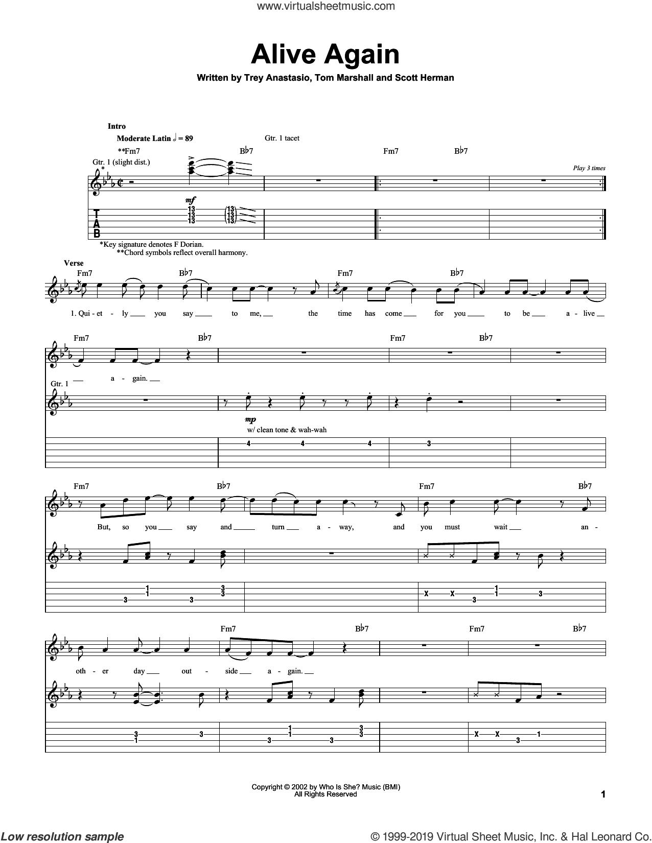 Alive Again sheet music for guitar (tablature) by Trey Anastasio, Scott Herman and Tom Marshall, intermediate skill level
