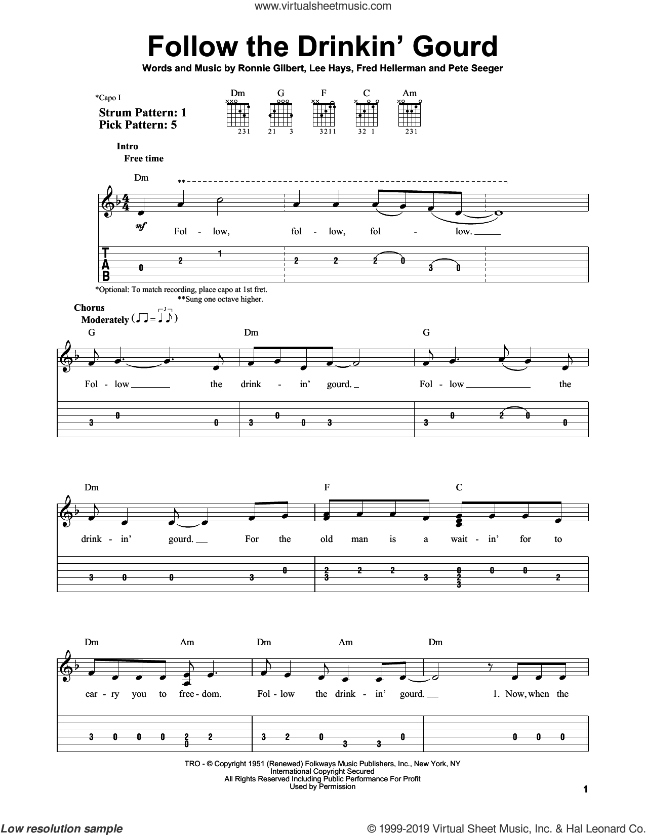 Follow The Drinkin' Gourd sheet music for guitar solo (easy tablature) by Pete Seeger, Fred Hellerman, Lee Hays and Ronnie Gilbert, easy guitar (easy tablature)