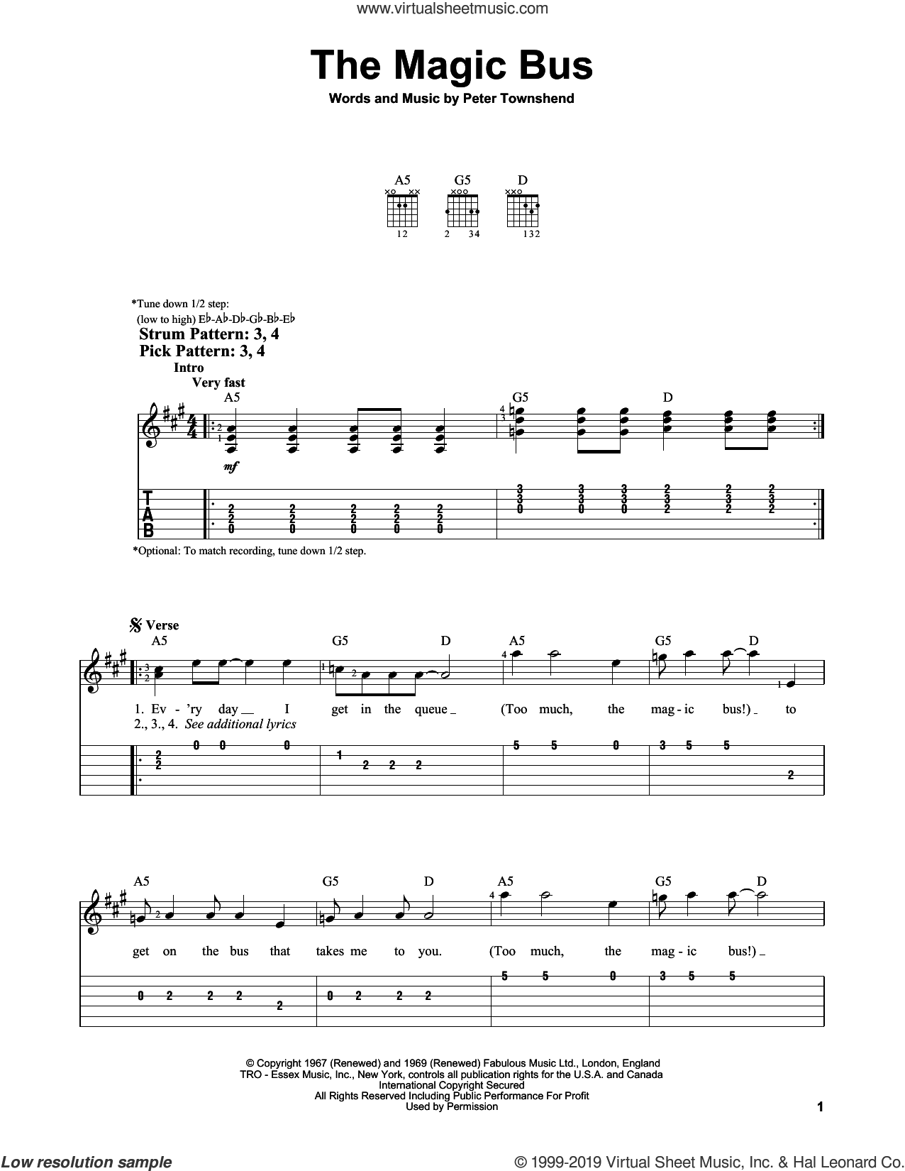 The Magic Bus sheet music for guitar solo (easy tablature) by The Who and Pete Townshend, easy guitar (easy tablature)