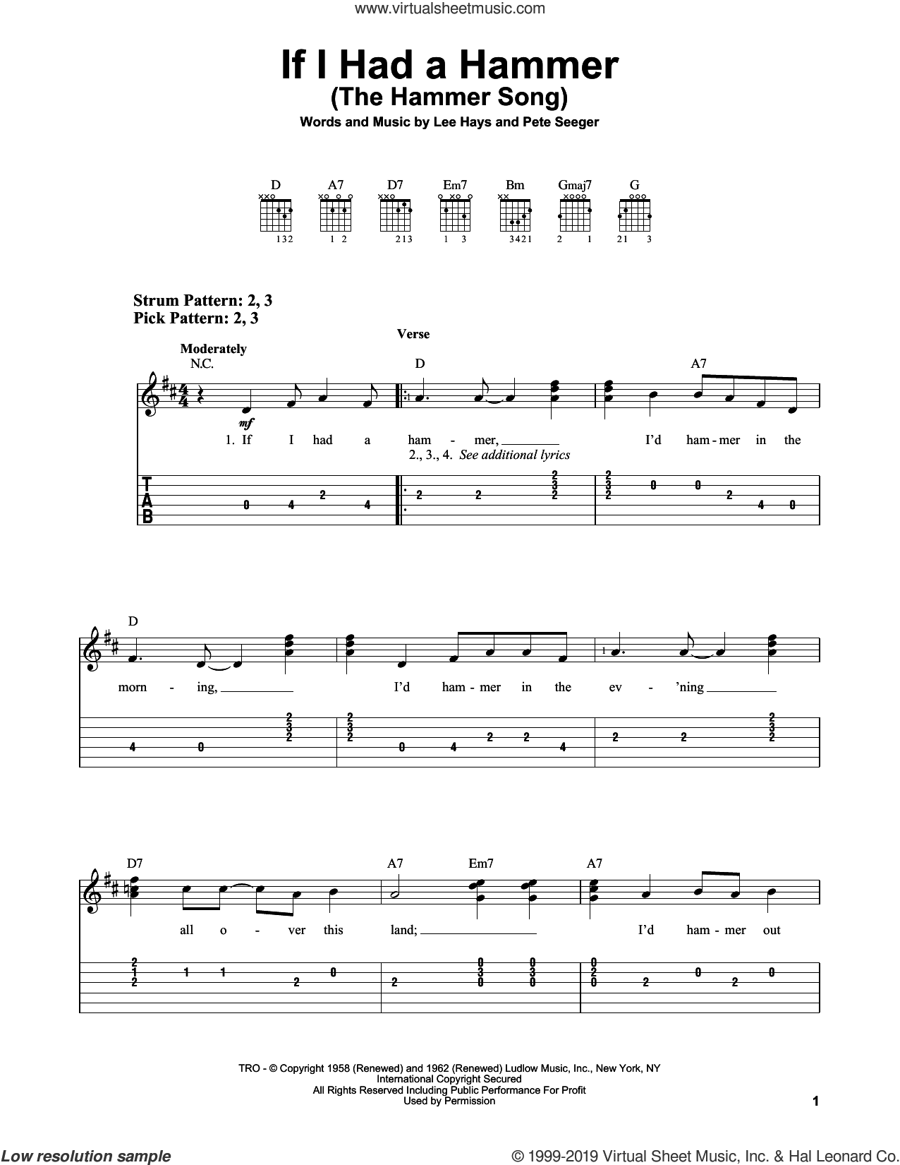 If I Had A Hammer (The Hammer Song) sheet music for guitar solo (easy tablature) by Peter, Paul & Mary, Lee Hays and Pete Seeger, easy guitar (easy tablature)