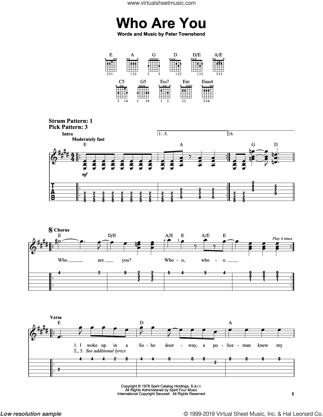 Who Are You sheet music for guitar solo (easy tablature) by The Who and Pete Townshend, easy guitar (easy tablature)
