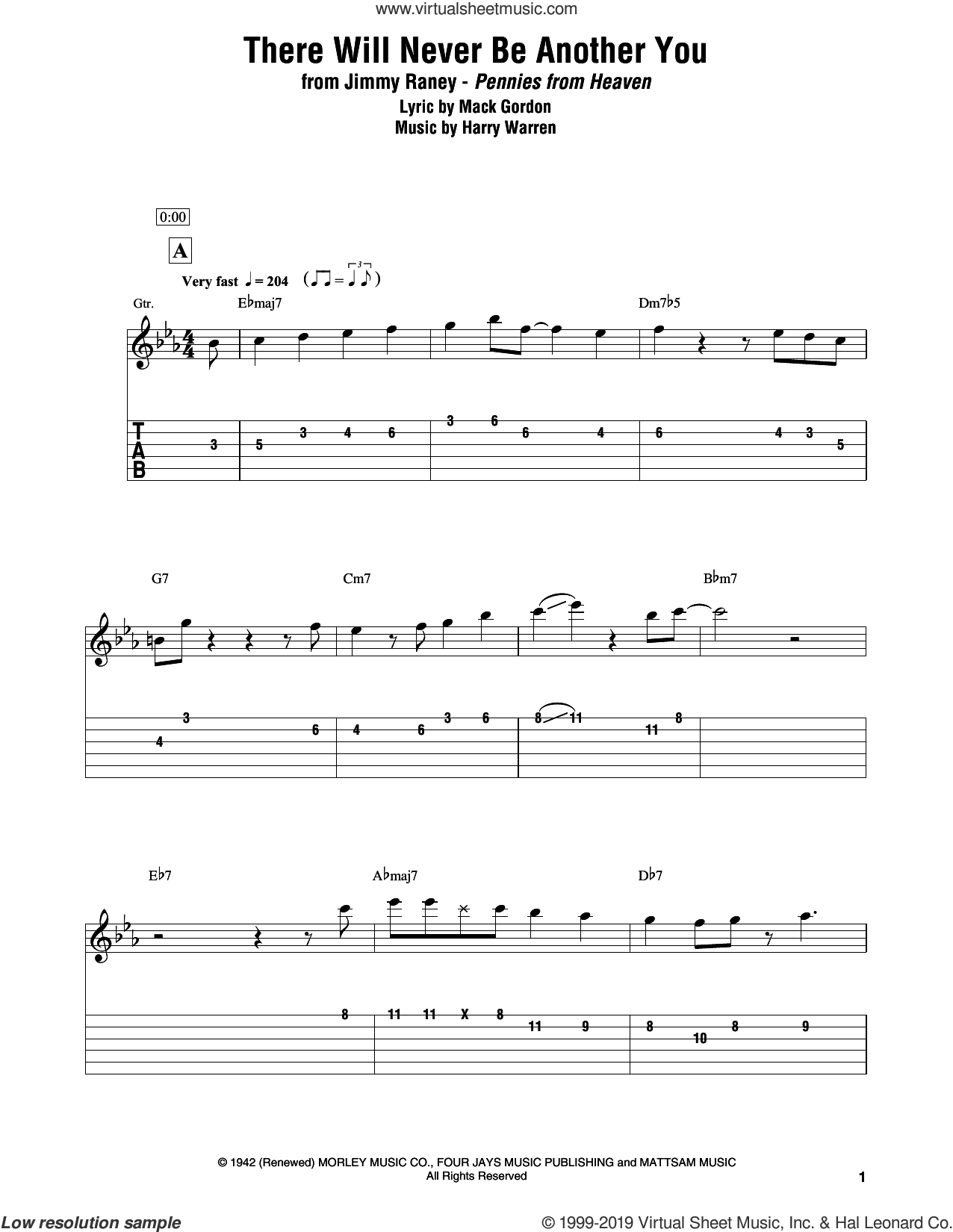 There Will Never Be Another You sheet music for electric guitar (transcription) by Jimmy Raney, Harry Warren and Mack Gordon, intermediate skill level