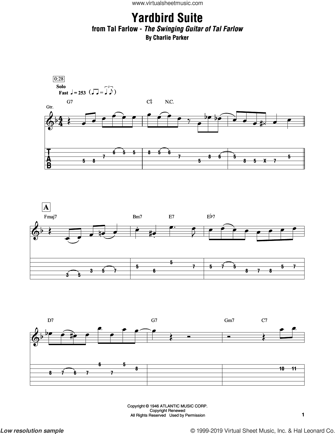Yardbird Suite sheet music for electric guitar (transcription) by Tal Farlow and Charlie Parker, intermediate skill level