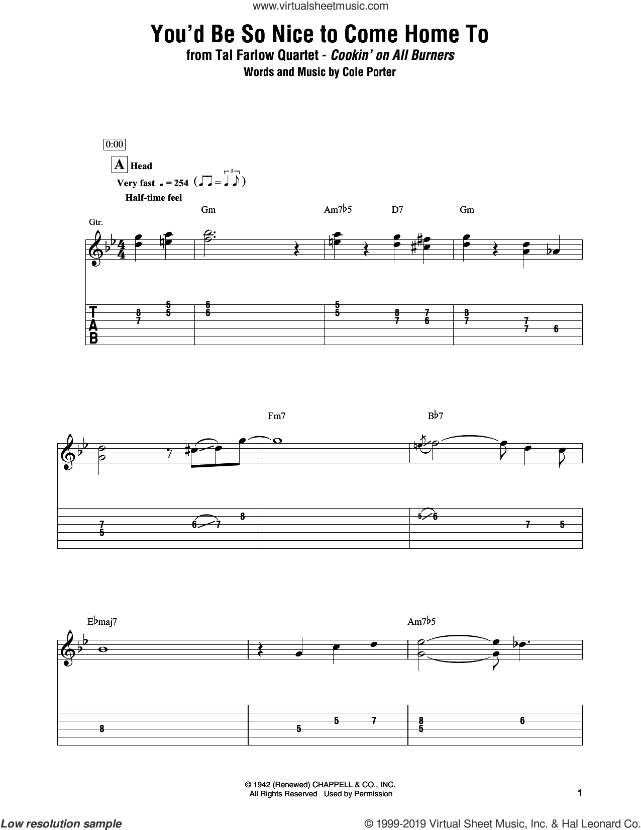 You'd Be So Nice To Come Home To sheet music for electric guitar (transcription) by Tal Farlow Quartet and Cole Porter, intermediate skill level