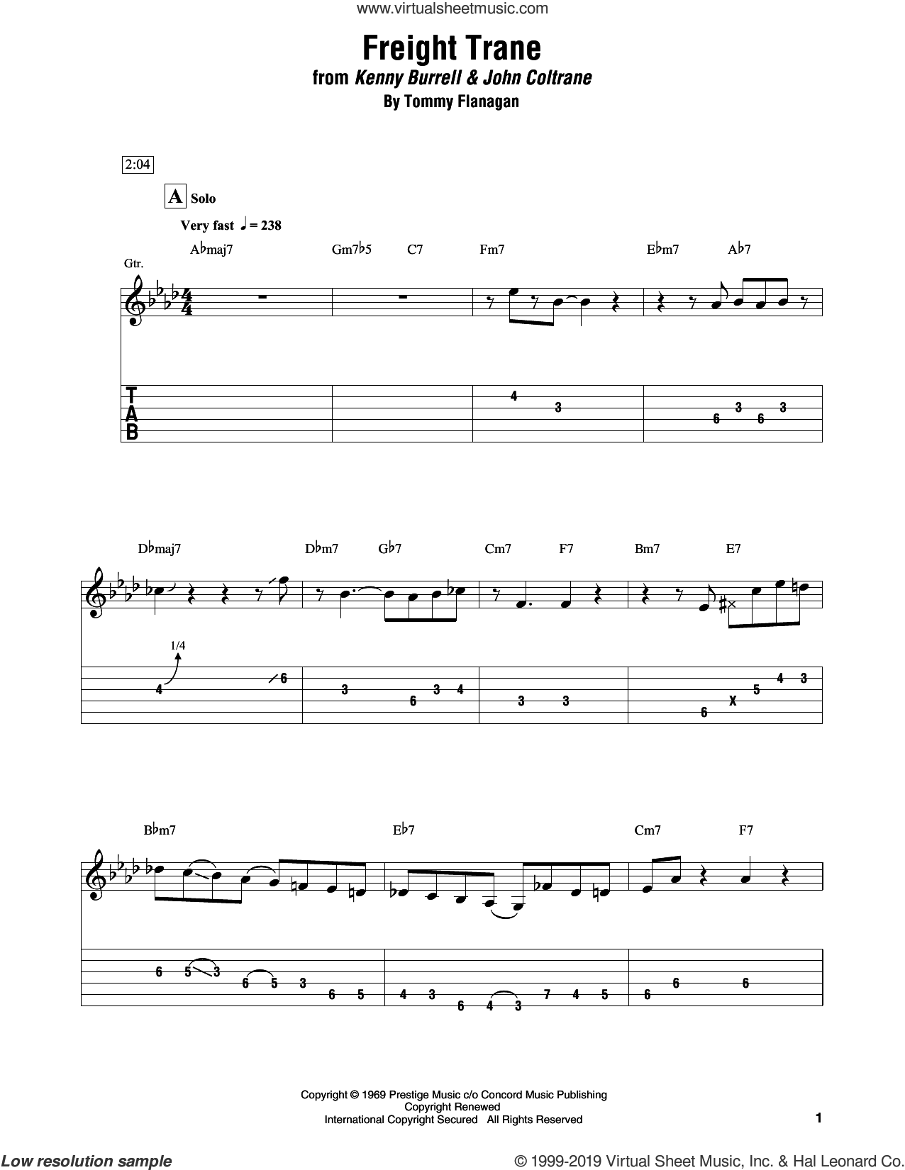 Freight Trane sheet music for electric guitar (transcription) by Kenny Burrell & John Coltrane and Tommy Flanagan, intermediate skill level