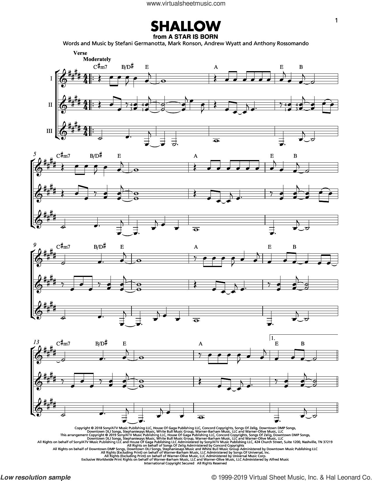 Shallow (from A Star Is Born) sheet music for guitar ensemble by Lady Gaga & Bradley Cooper, Bradley Cooper, Andrew Wyatt, Anthony Rossomando, Lady Gaga and Mark Ronson, intermediate skill level