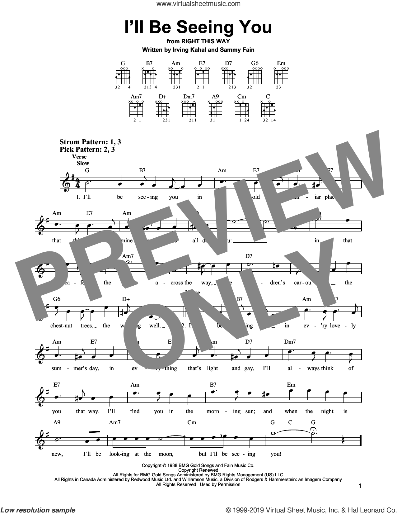 I'll Be Seeing You sheet music for guitar solo (chords) by Irving Kahal and Sammy Fain, easy guitar (chords)