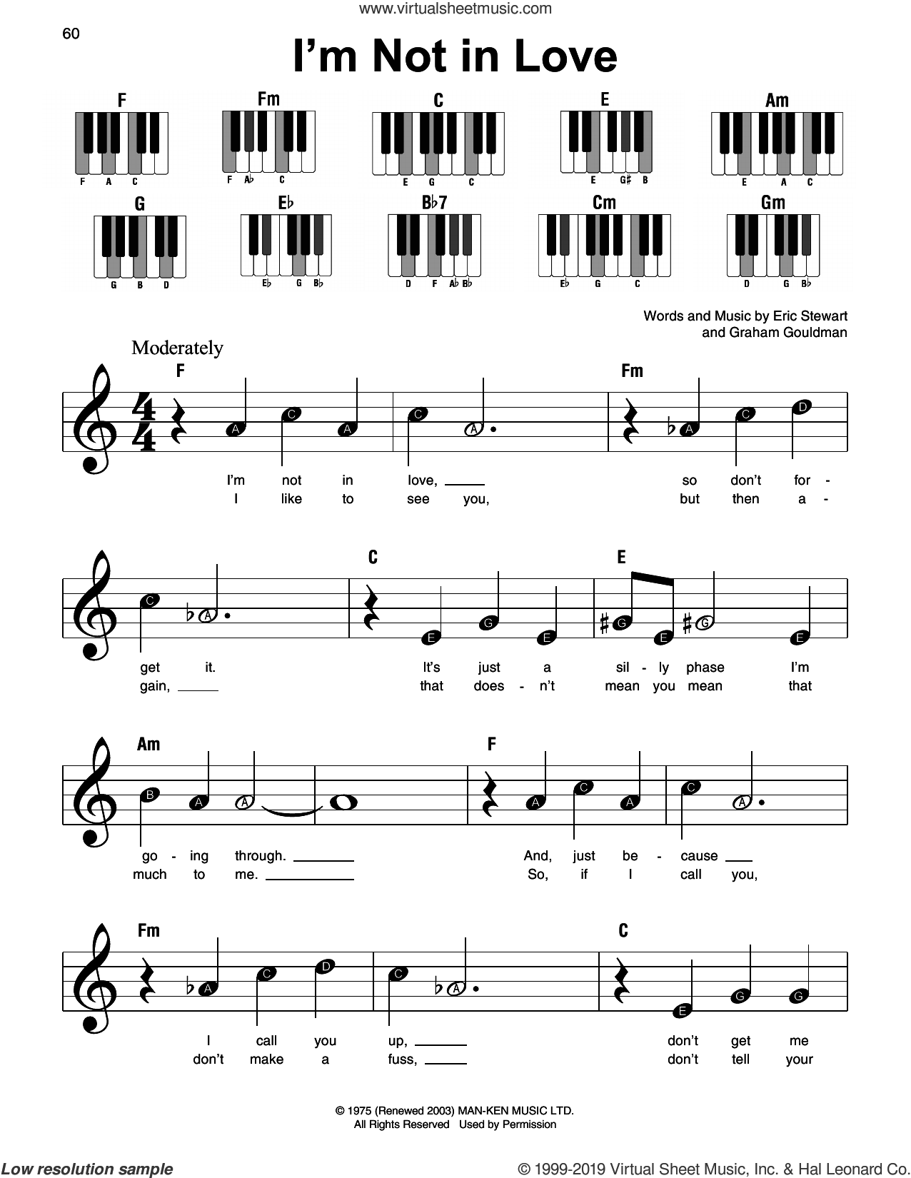 I'm Not In Love sheet music for piano solo by 10Cc, Eric Stewart and Graham Gouldman, beginner skill level