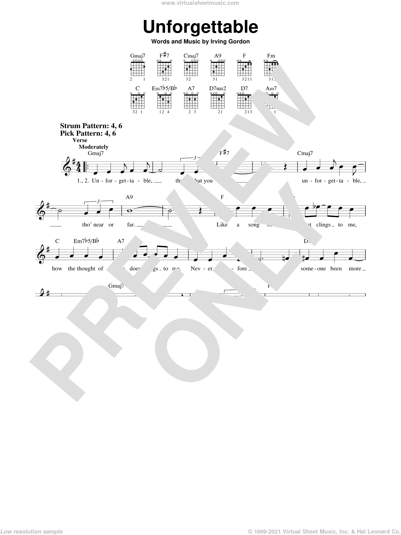 Unforgettable sheet music for guitar solo (chords) by Natalie Cole and Irving Gordon, easy guitar (chords)